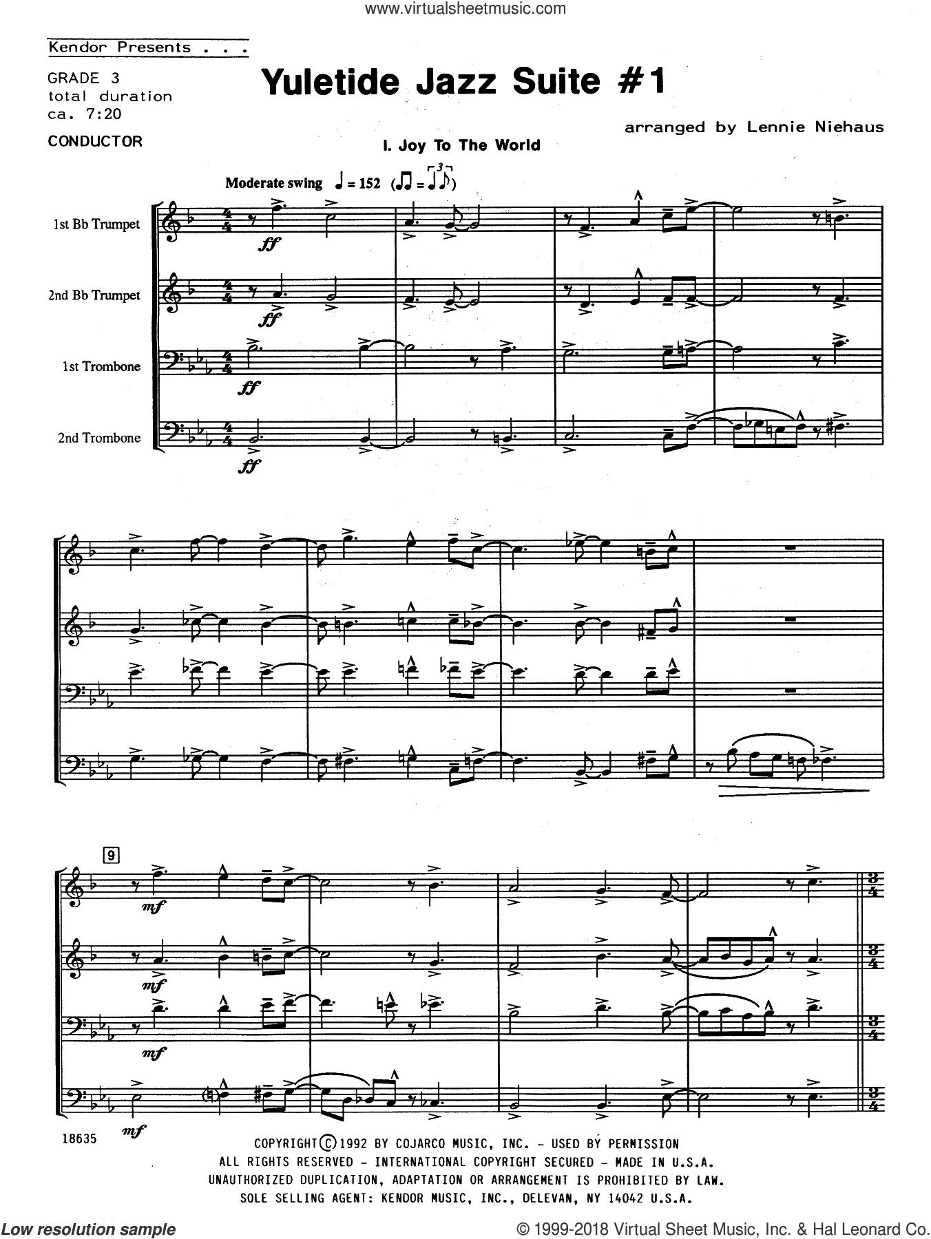 Yuletide Jazz Suite #1 (COMPLETE) sheet music for brass quartet by Lennie Niehaus, intermediate skill level
