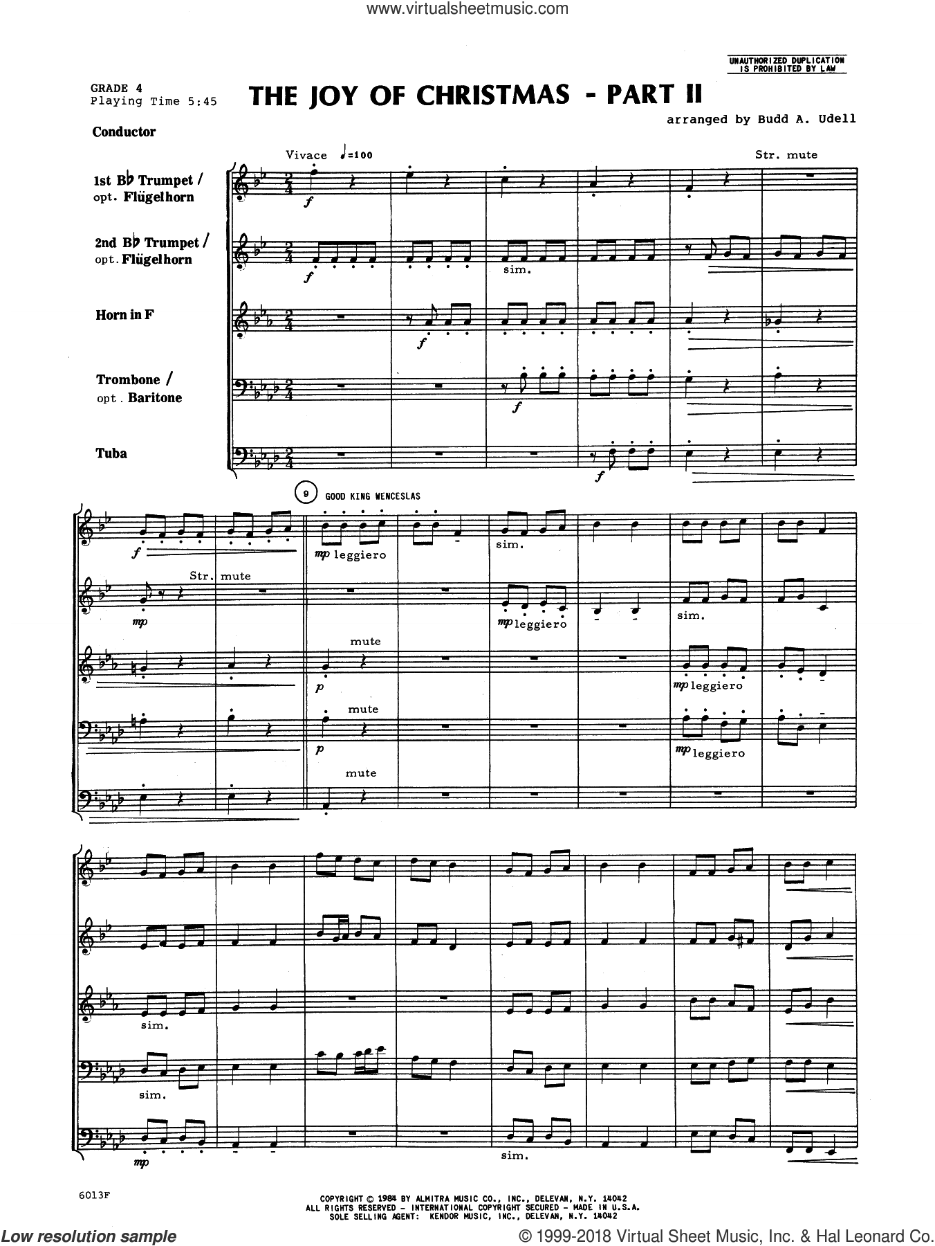 The Joy of Christmas Part 2 (COMPLETE) sheet music for brass quintet by Budd A. Udell, intermediate skill level