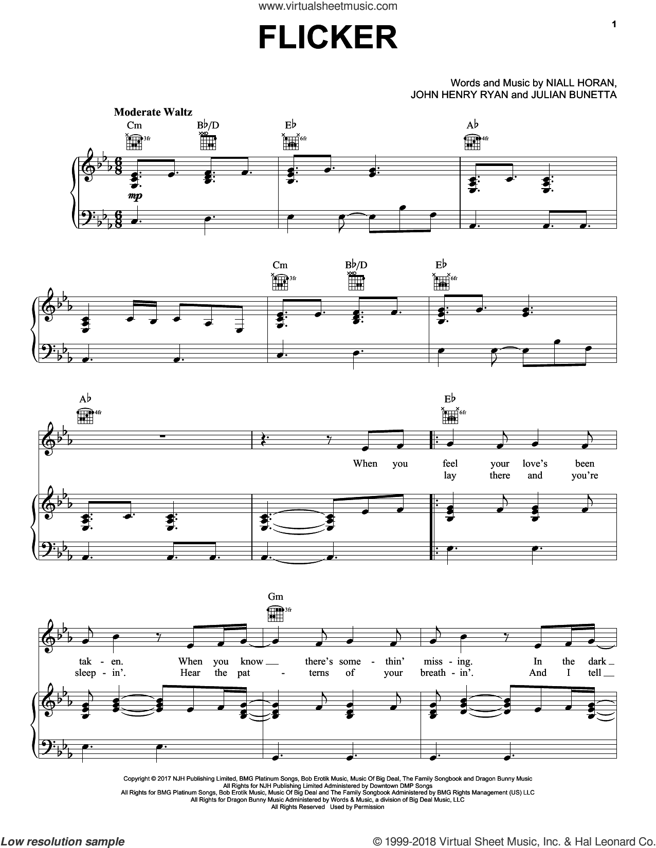 Flicker sheet music for voice, piano or guitar by Niall Horan, John Henry Ryan and Julian Bunetta, intermediate skill level