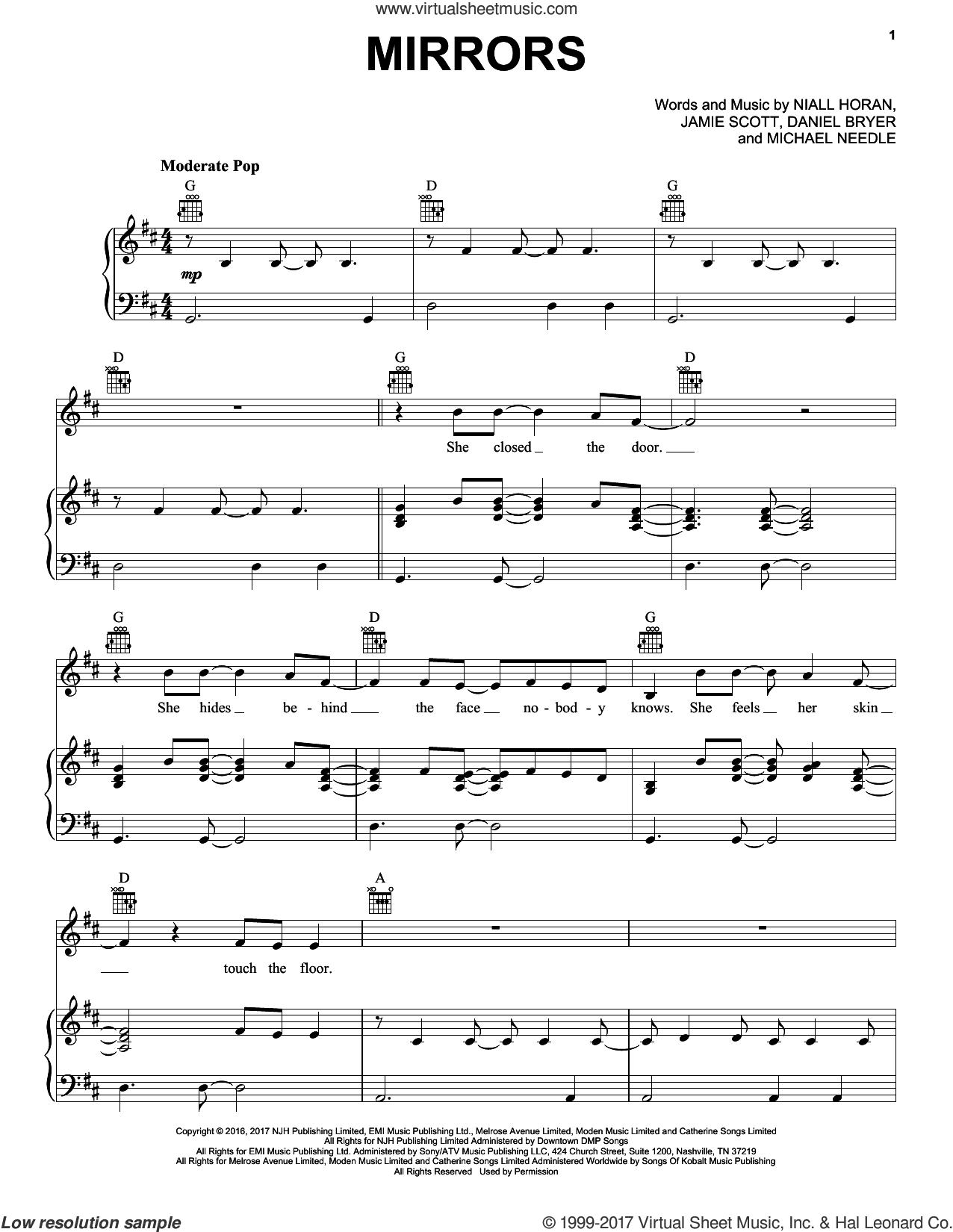 Mirrors sheet music for voice, piano or guitar by Niall Horan, Daniel Bryer, Jamie Scott and Michael Needle, intermediate skill level