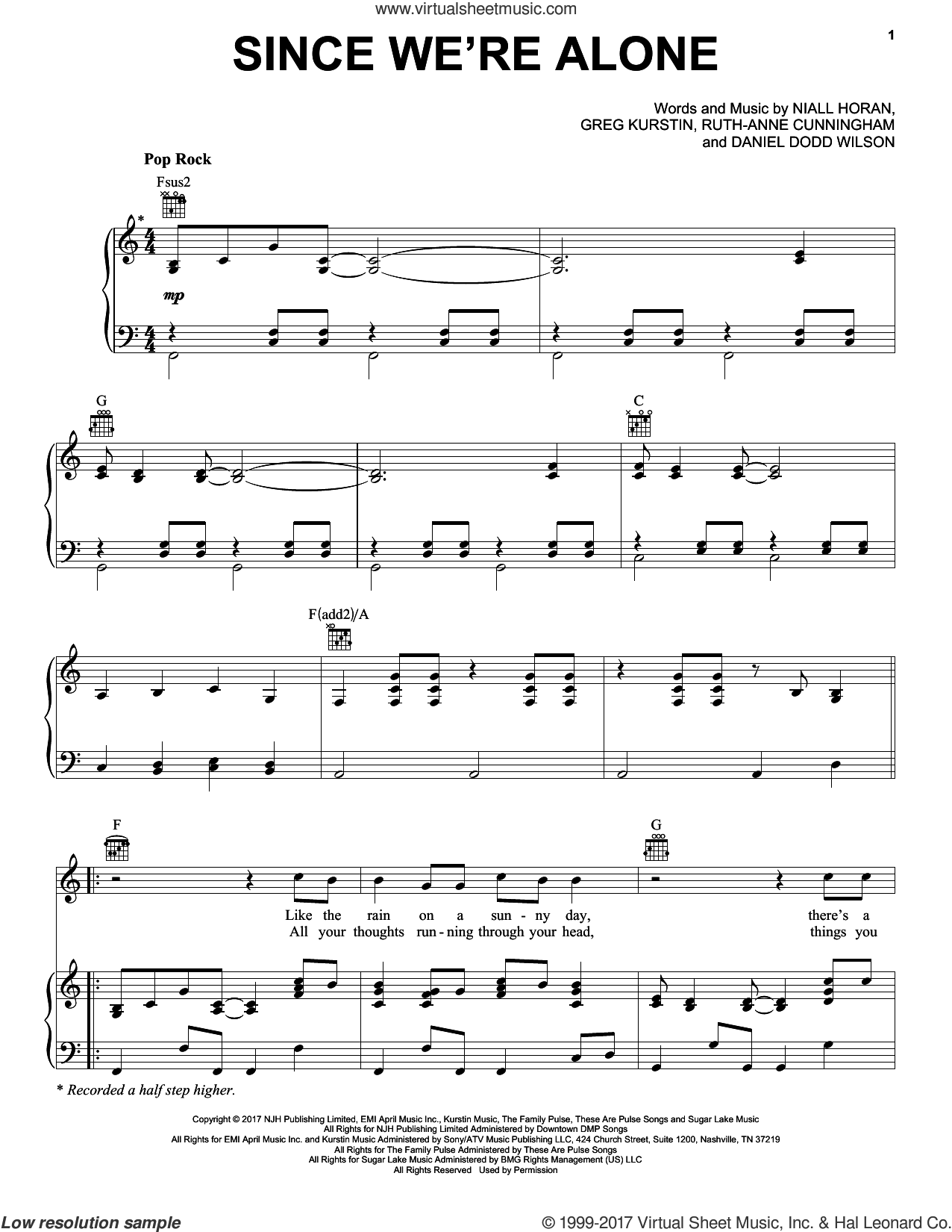 Since We're Alone sheet music for voice, piano or guitar by Niall Horan, Dan Wilson, Greg Kurstin and Ruth Anne Cunningham, intermediate skill level
