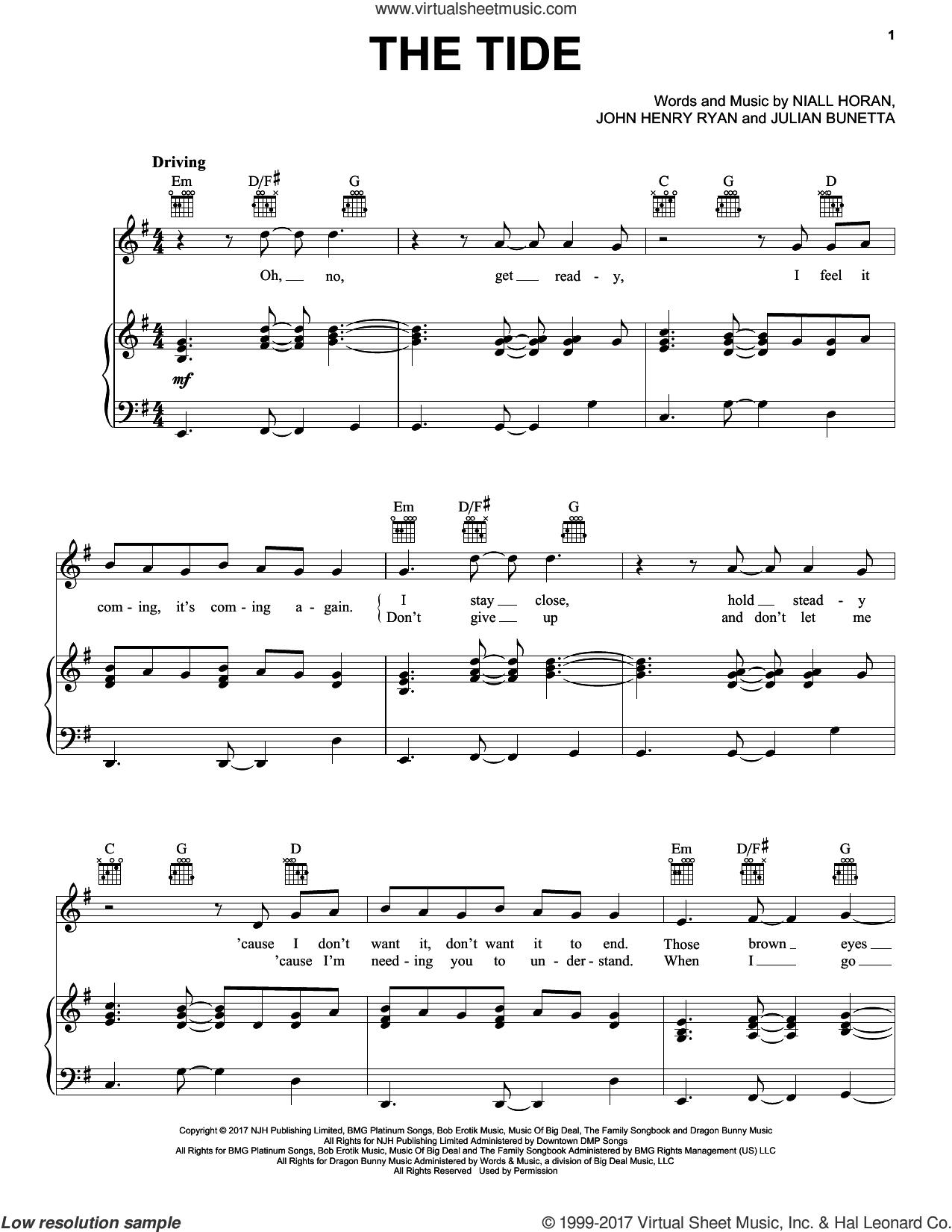 The Tide sheet music for voice, piano or guitar by Niall Horan, John Henry Ryan and Julian Bunetta, intermediate skill level
