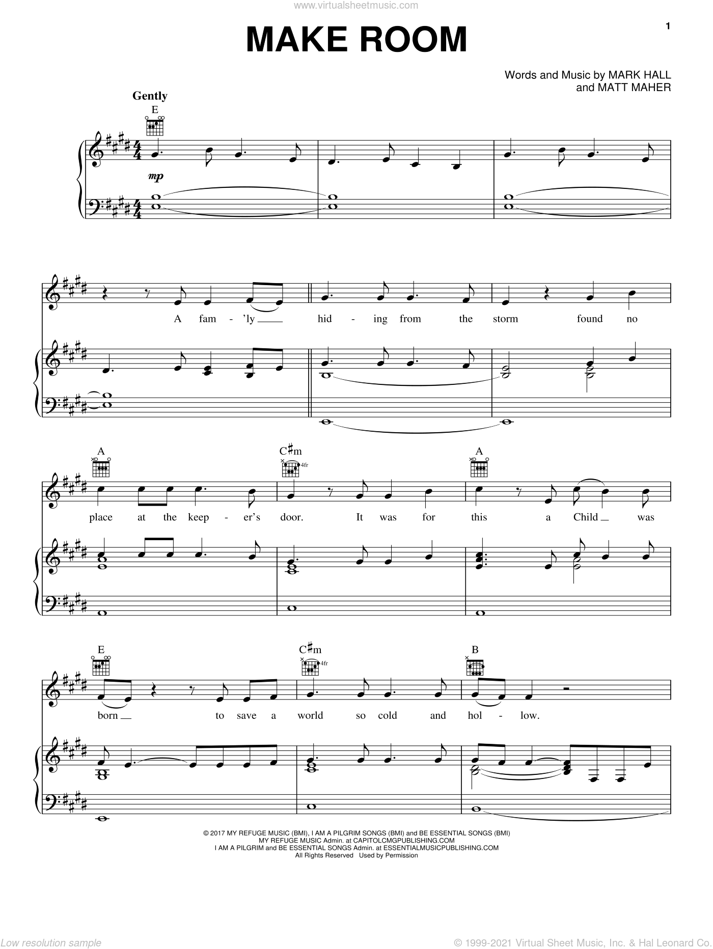 Make Room (feat. Matt Maher) sheet music for voice, piano or guitar by Casting Crowns, Mark Hall and Matt Maher, intermediate skill level