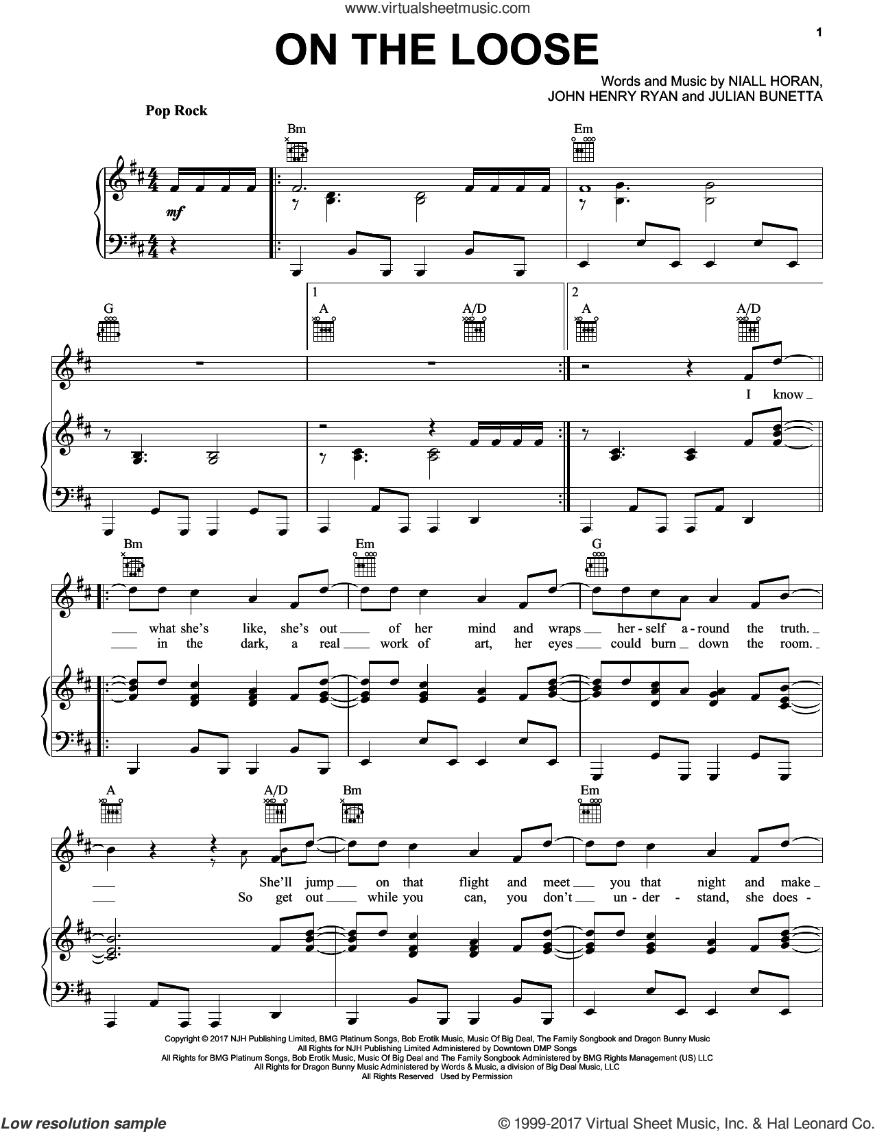On The Loose sheet music for voice, piano or guitar by Niall Horan, John Henry Ryan and Julian Bunetta, intermediate skill level
