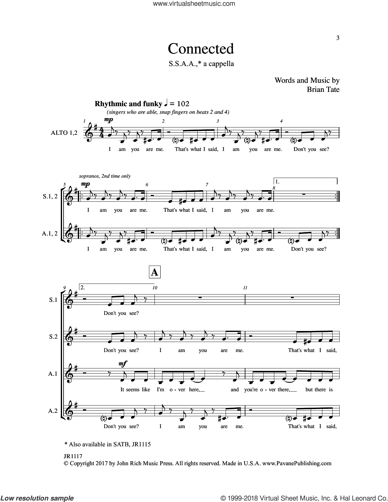 Connected sheet music for choir by Brain Tate, intermediate skill level