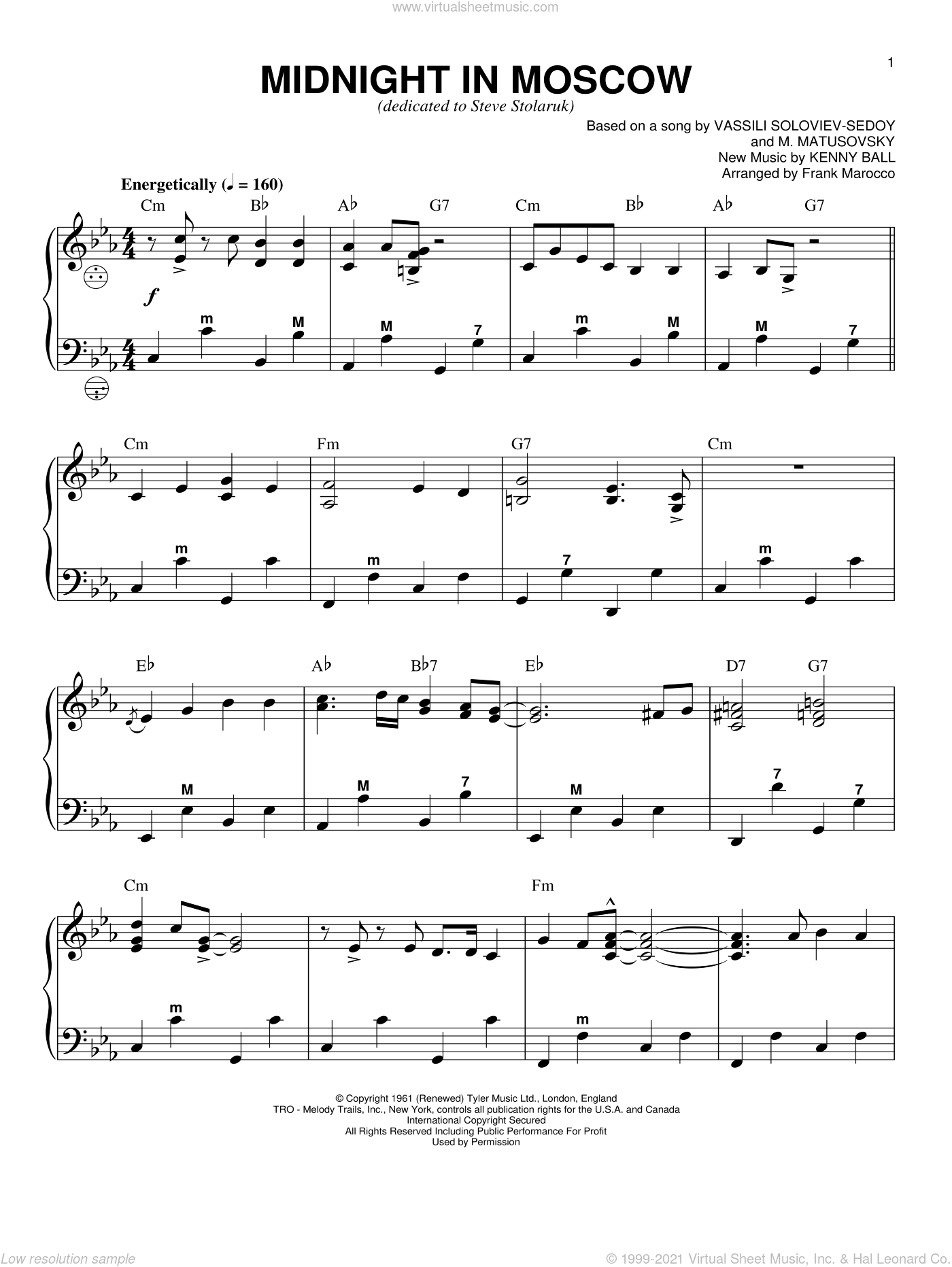 Midnight In Moscow sheet music for accordion by Kenny Ball and Frank Marocco, intermediate skill level