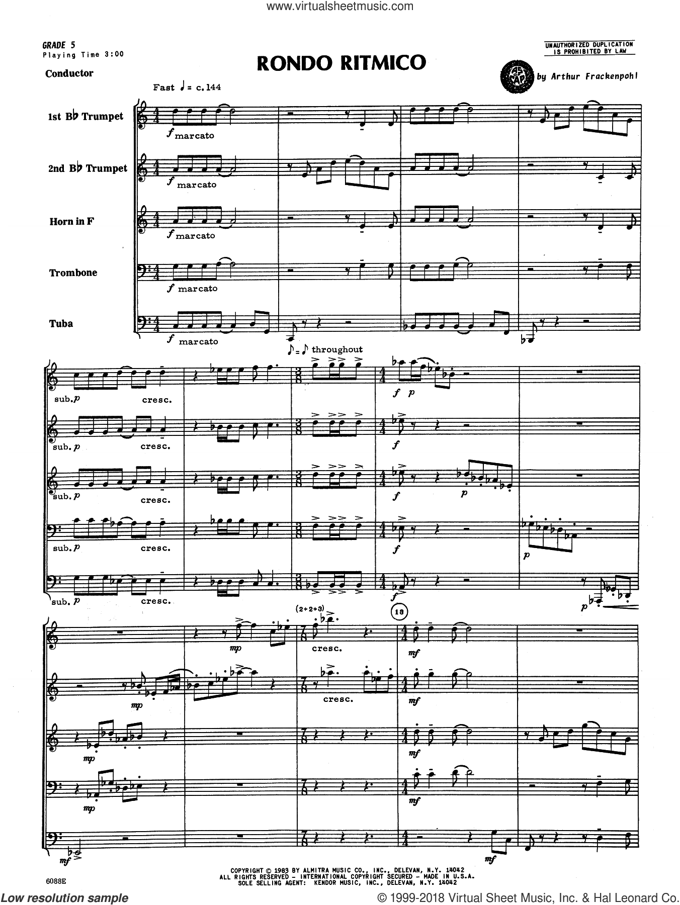 Rondo Ritmico (COMPLETE) sheet music for brass quintet by Arthur Frankenpohl, intermediate skill level