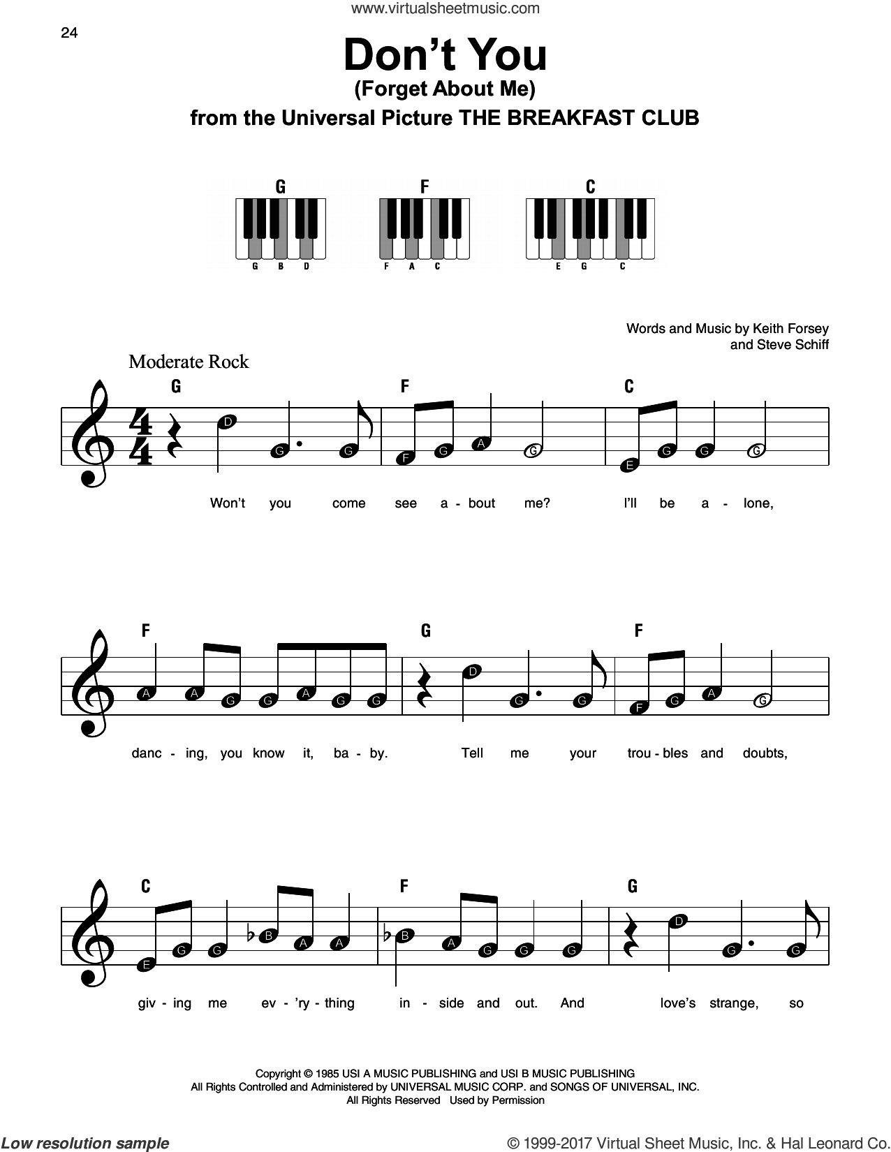 Don't You (Forget About Me) sheet music for piano solo by Simple Minds, Keith Forsey and Steve Schiff, beginner skill level