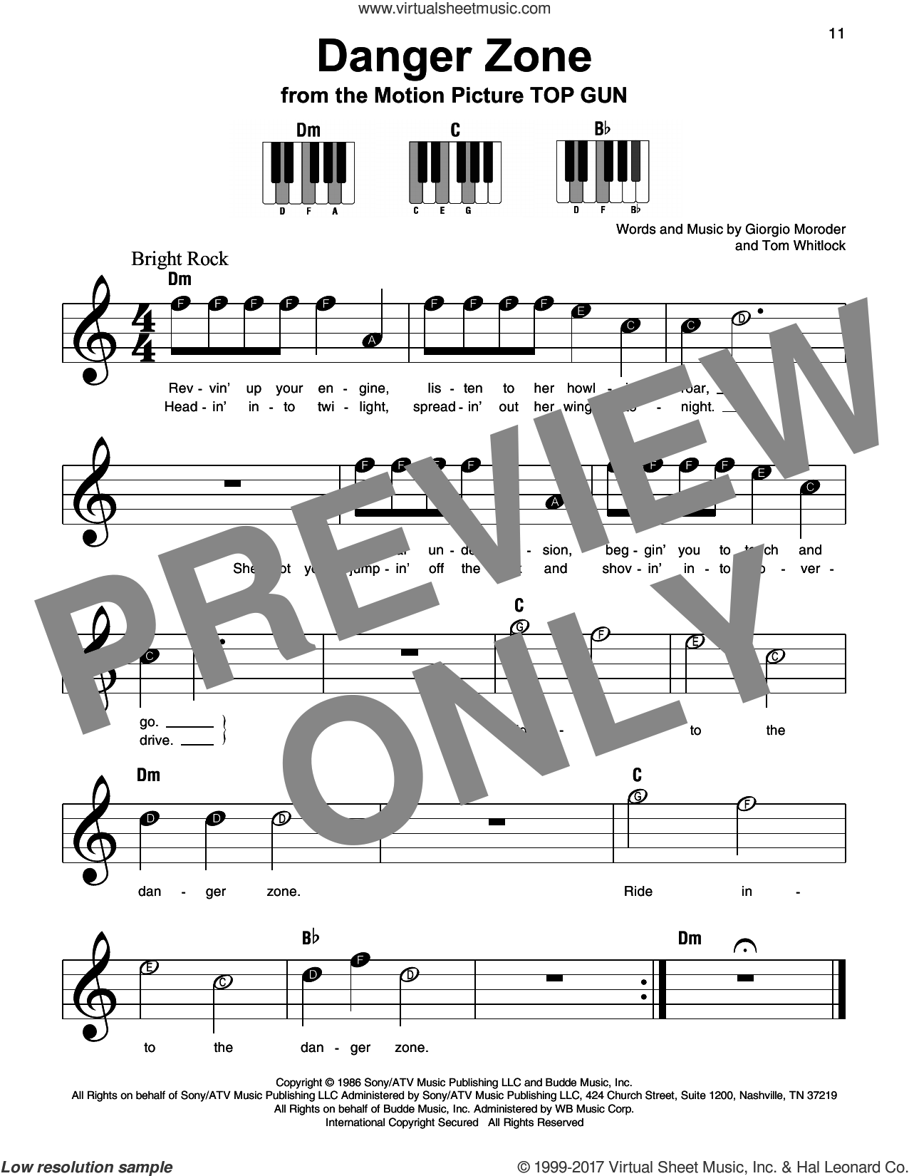 Danger Zone sheet music for piano solo by Kenny Loggins, Giorgio Moroder and Tom Whitlock, beginner skill level