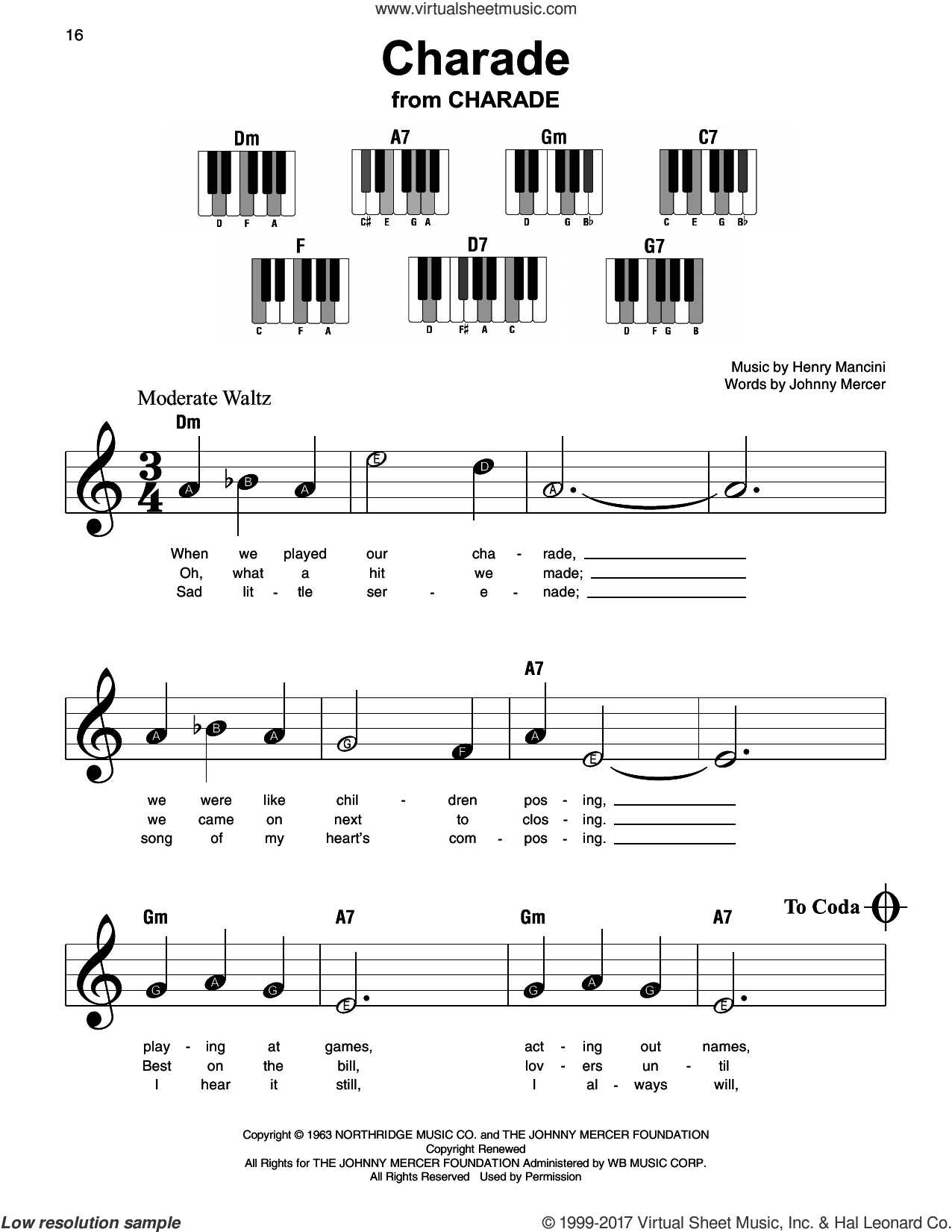 Charade sheet music for piano solo by Johnny Mercer, Andy Williams, Sammy Kaye and Henry Mancini, beginner skill level