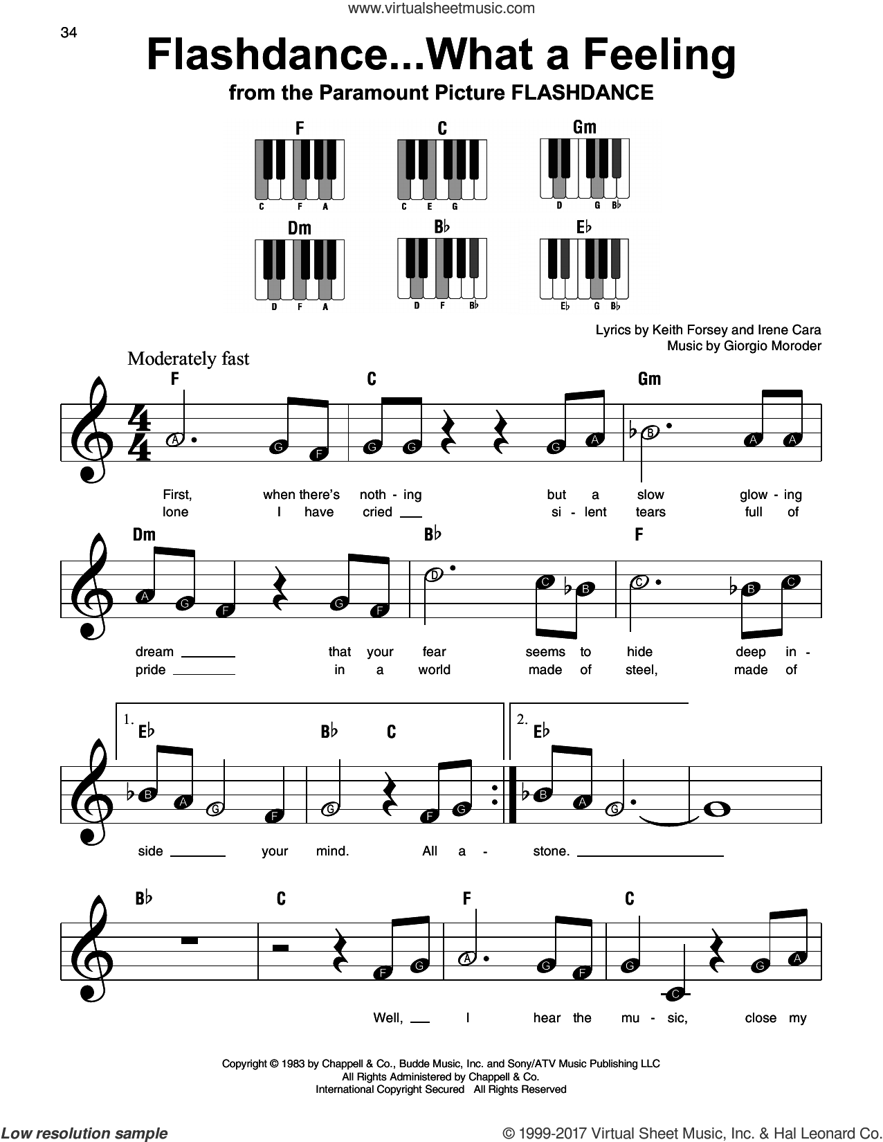 Flashdance...What A Feeling, (beginner) sheet music for piano solo by Irene Cara, Giorgio Moroder and Keith Forsey, beginner skill level