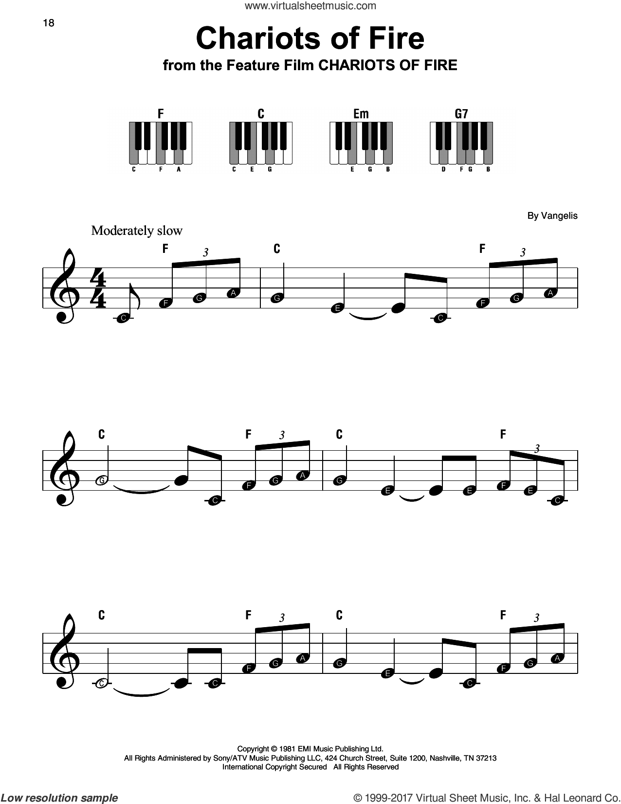 Chariots Of Fire sheet music for piano solo by Vangelis, beginner skill level