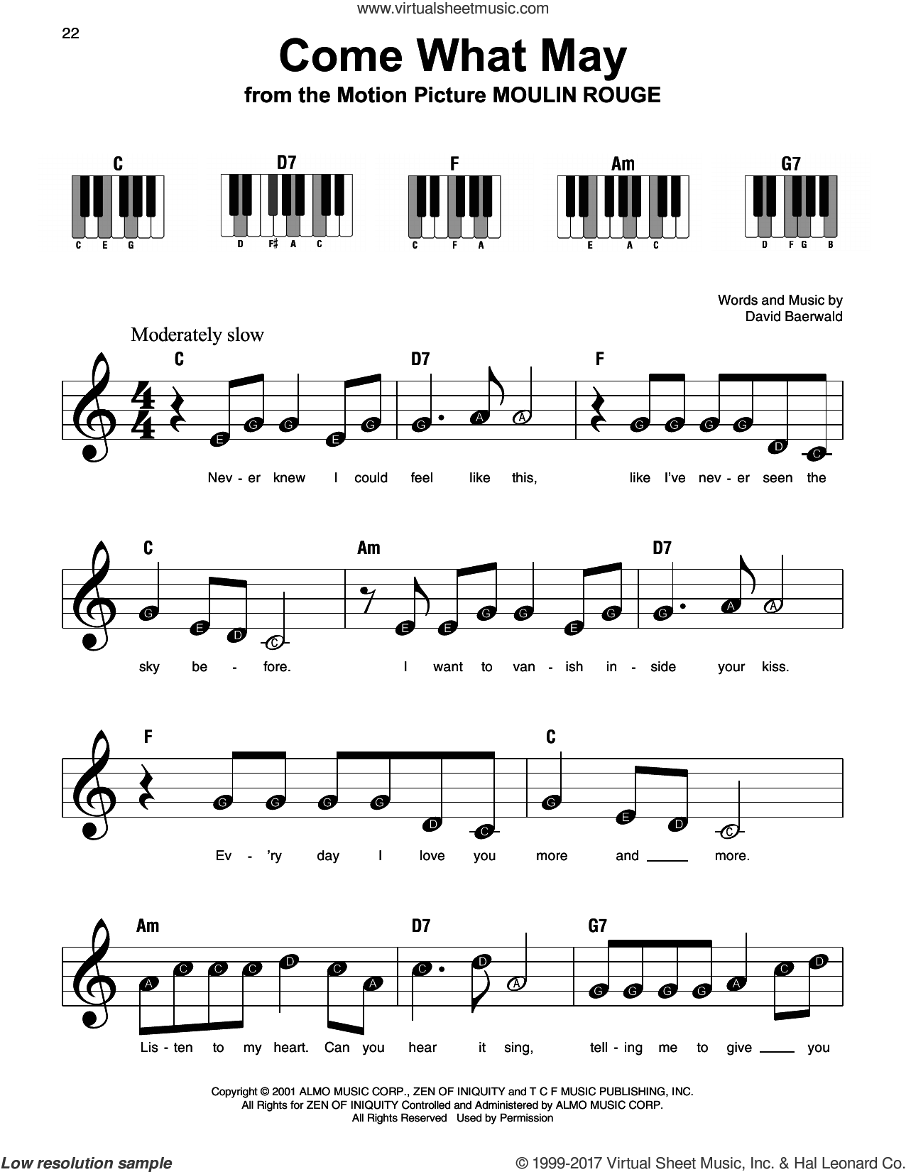 Come What May sheet music for piano solo by Nicole Kidman and Ewan McGregor and David Baerwald, beginner skill level