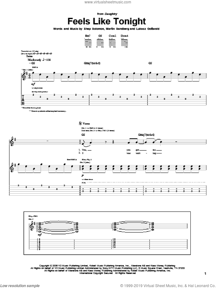 Feels Like Tonight sheet music for guitar (tablature) by Sheppard Solomon, Daughtry, Lukasz Gottwald and Martin Sandberg. Score Image Preview.