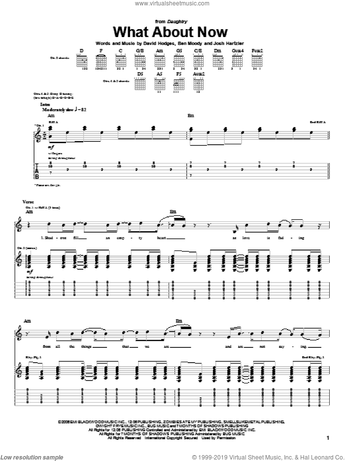 What About Now sheet music for guitar (tablature) by Josh Hartzler, Daughtry, Ben Moody and David Hodges. Score Image Preview.