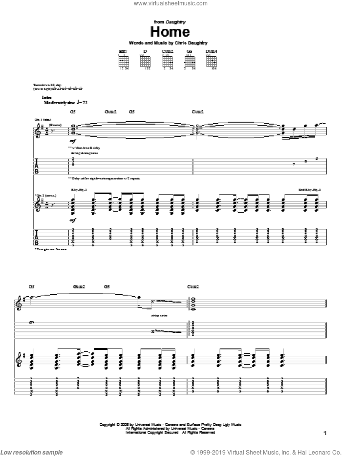 Home sheet music for guitar (tablature) by Daughtry and Chris Daughtry, intermediate. Score Image Preview.