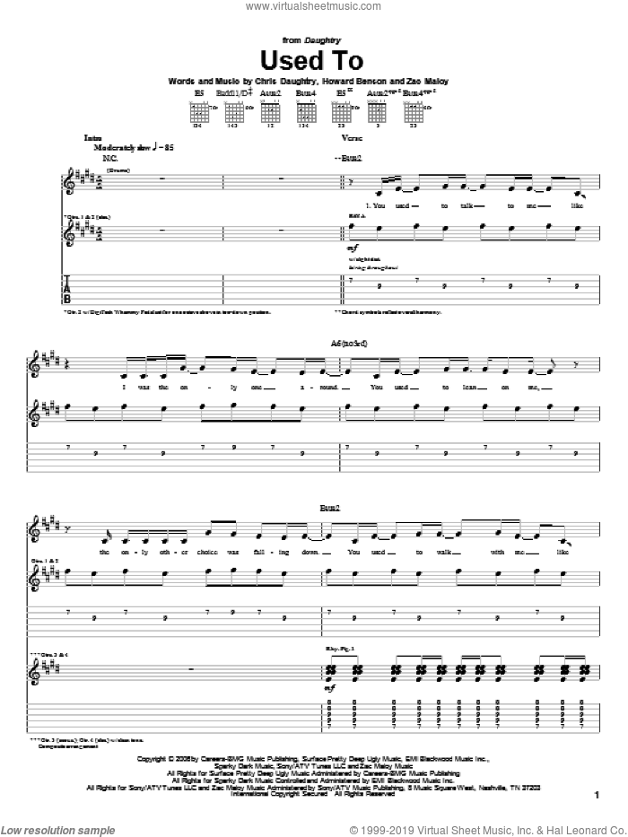 Used To sheet music for guitar (tablature) by Daughtry, Chris Daughtry, Howard Benson and Zac Maloy, intermediate. Score Image Preview.