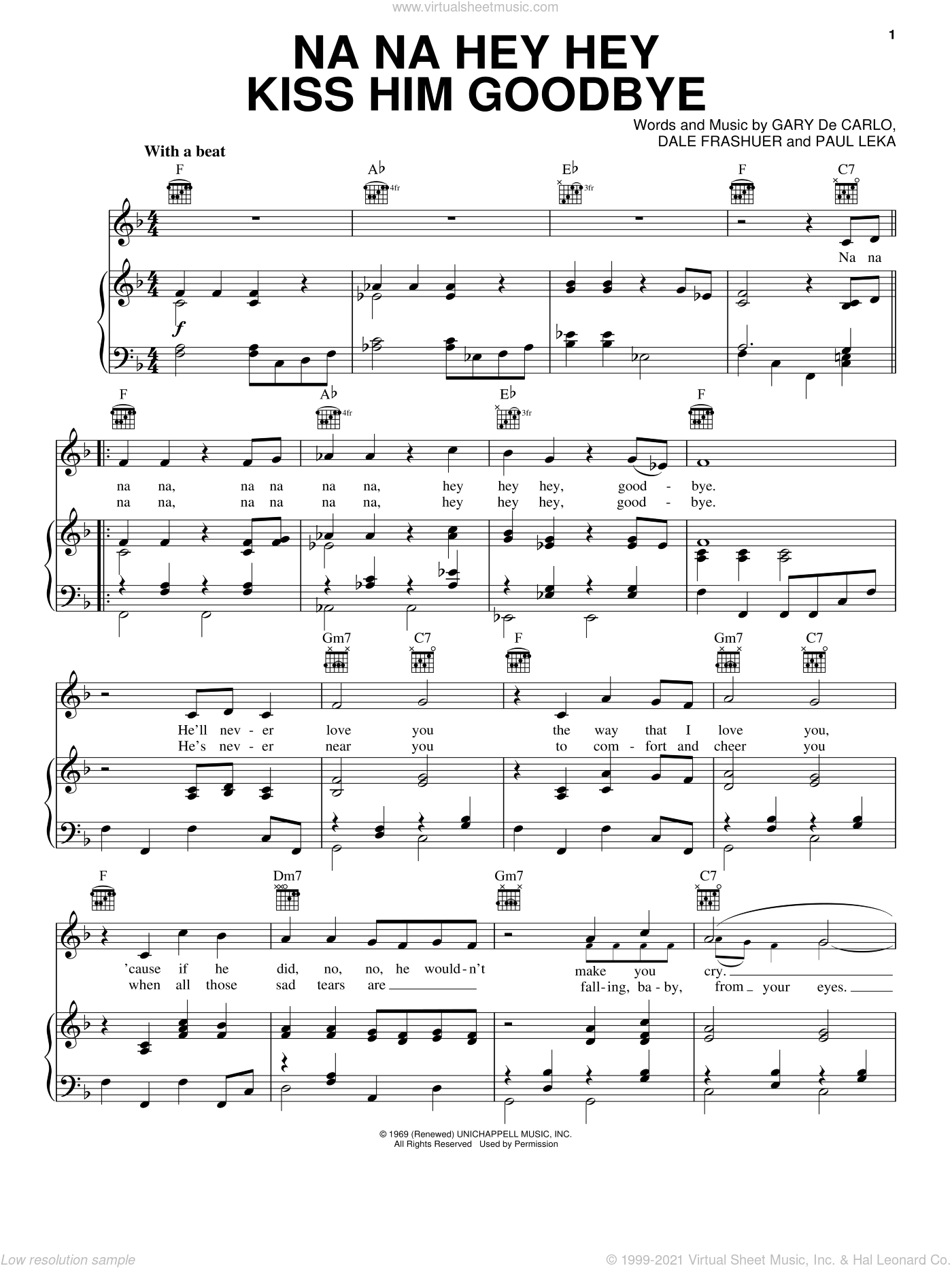 Na Na Hey Hey Kiss Him Goodbye sheet music for voice, piano or guitar by Paul Leka