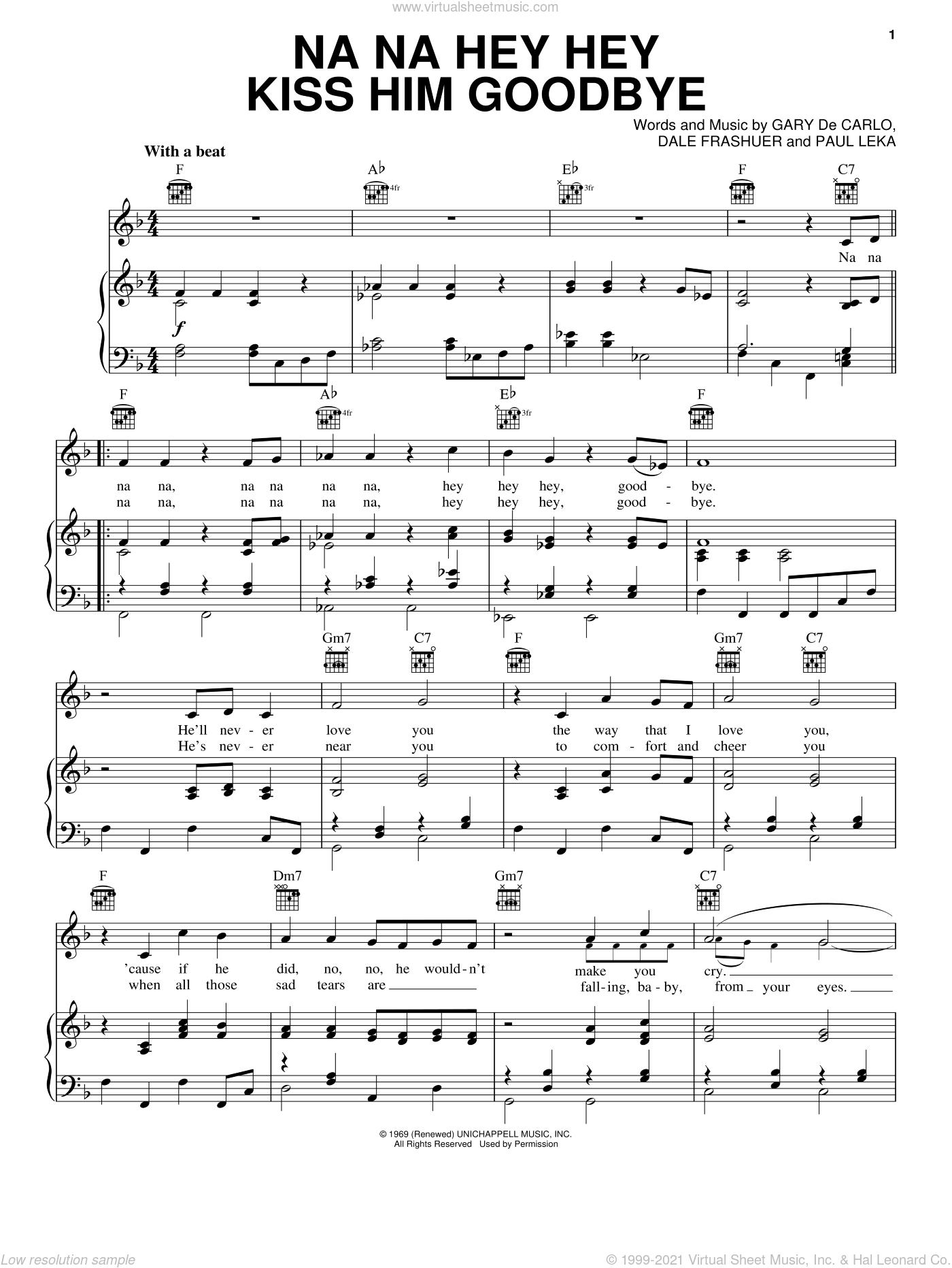 Na Na Hey Hey Kiss Him Goodbye sheet music for voice, piano or guitar by Steam, Arthur Frashuer Dale, Gary Carla and Paul Leka, intermediate skill level