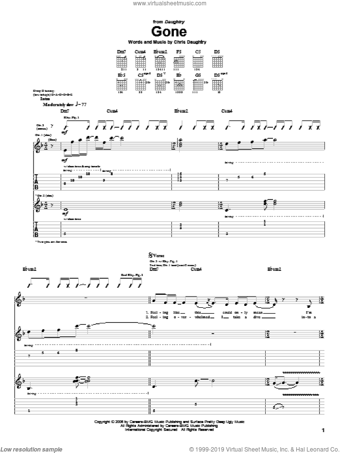 Gone sheet music for guitar (tablature) by Daughtry and Chris Daughtry, intermediate