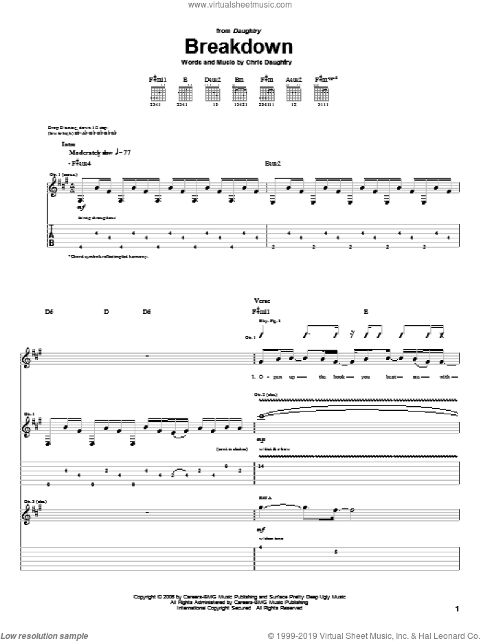 Breakdown sheet music for guitar (tablature) by Daughtry and Chris Daughtry, intermediate. Score Image Preview.