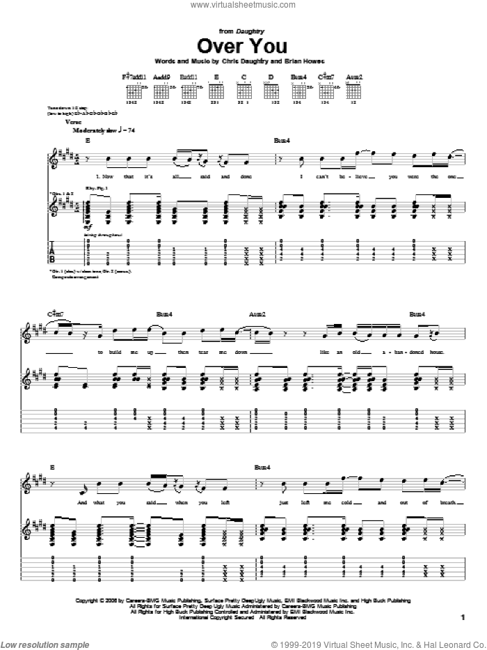 Over You sheet music for guitar (tablature) by Chris Daughtry