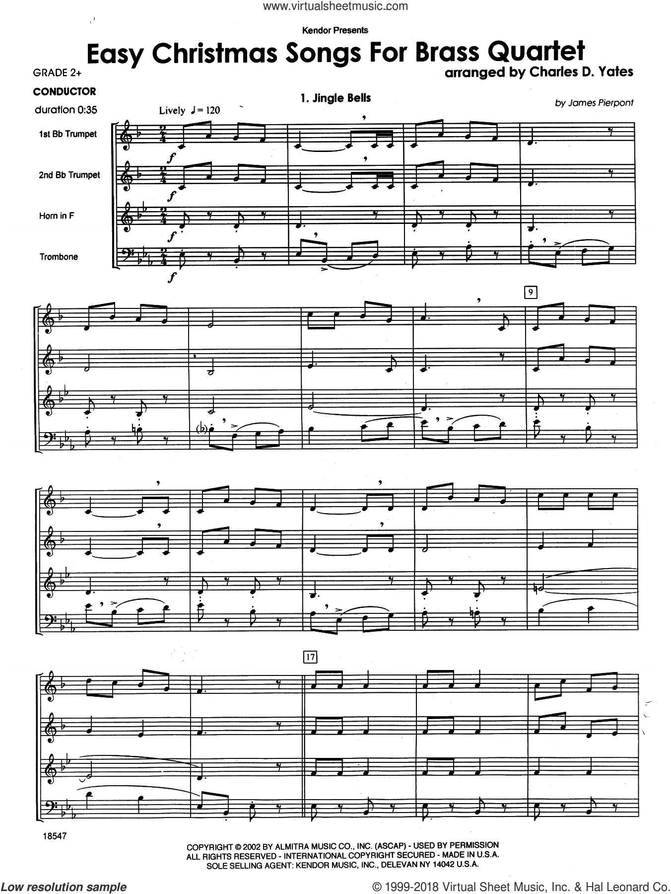 Easy Christmas Songs For Brass Quartet (COMPLETE) sheet music for brass quartet by Charles D. Yates, intermediate skill level