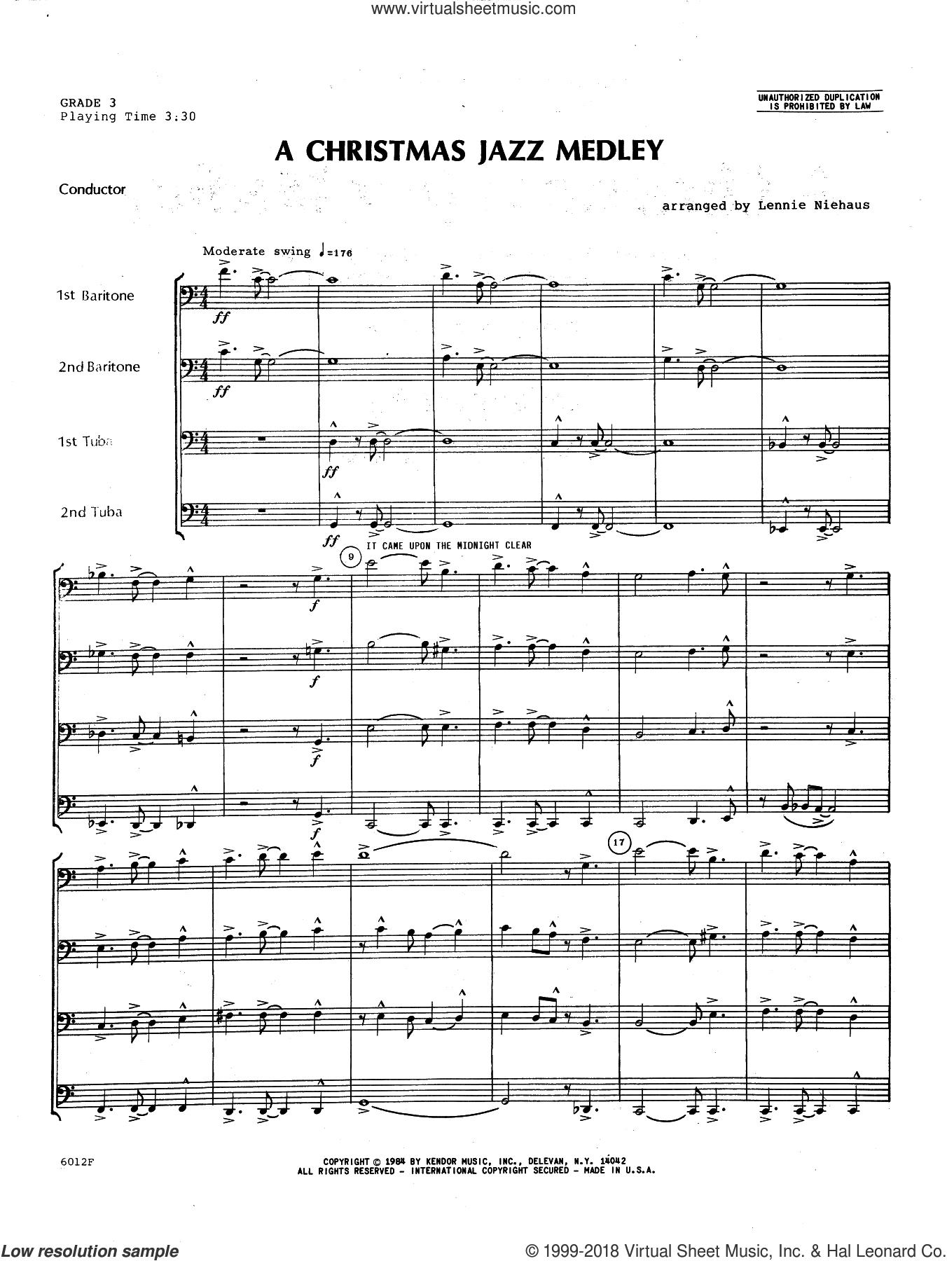 Christmas Jazz Medley (COMPLETE) sheet music for brass quartet by Lennie Niehaus, intermediate skill level