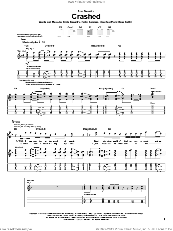 Crashed sheet music for guitar (tablature) by Nina Ossoff, Daughtry and Chris Daughtry