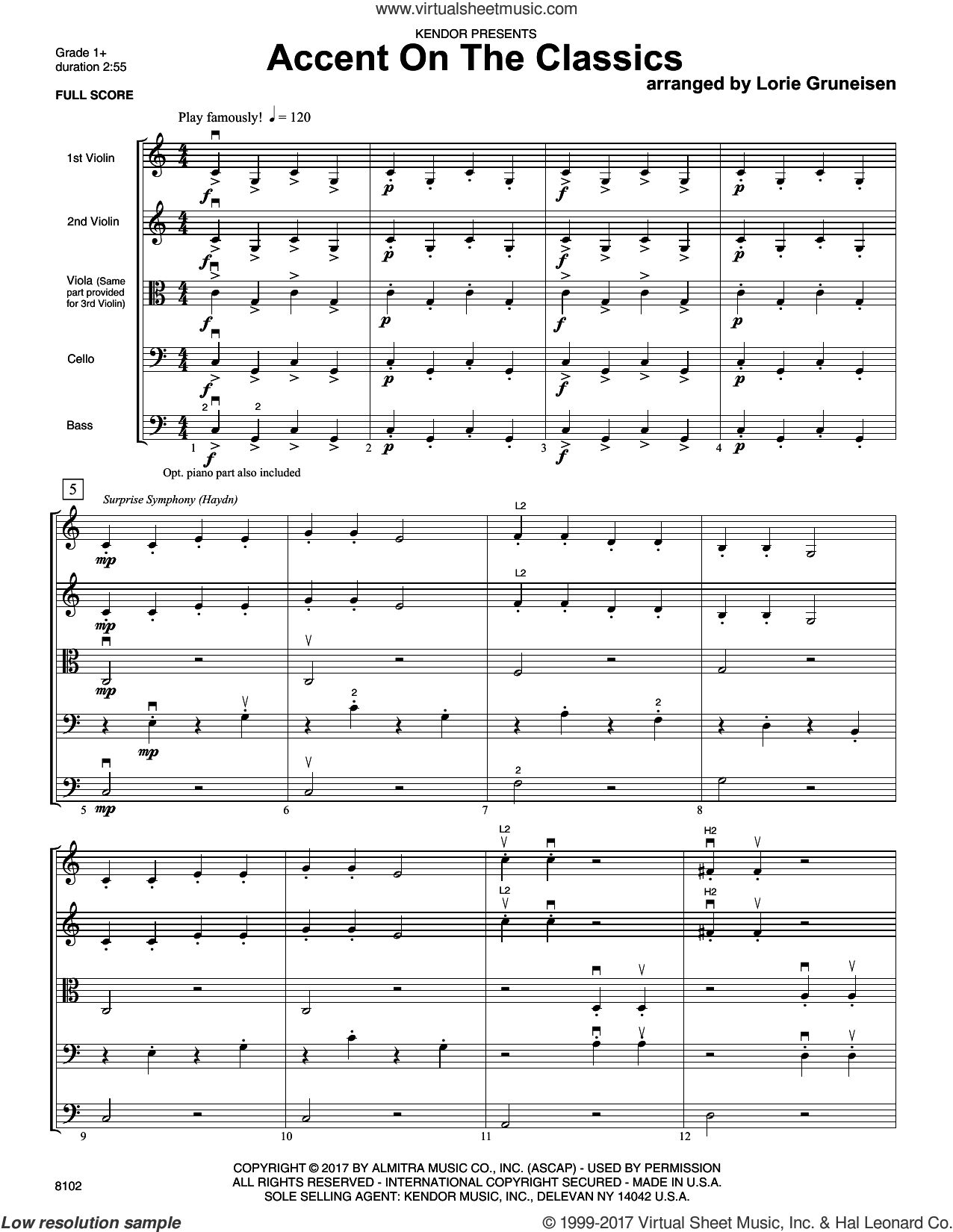 Accent On The Classics (COMPLETE) sheet music for orchestra by Lorie Gruneisen, classical score, intermediate skill level