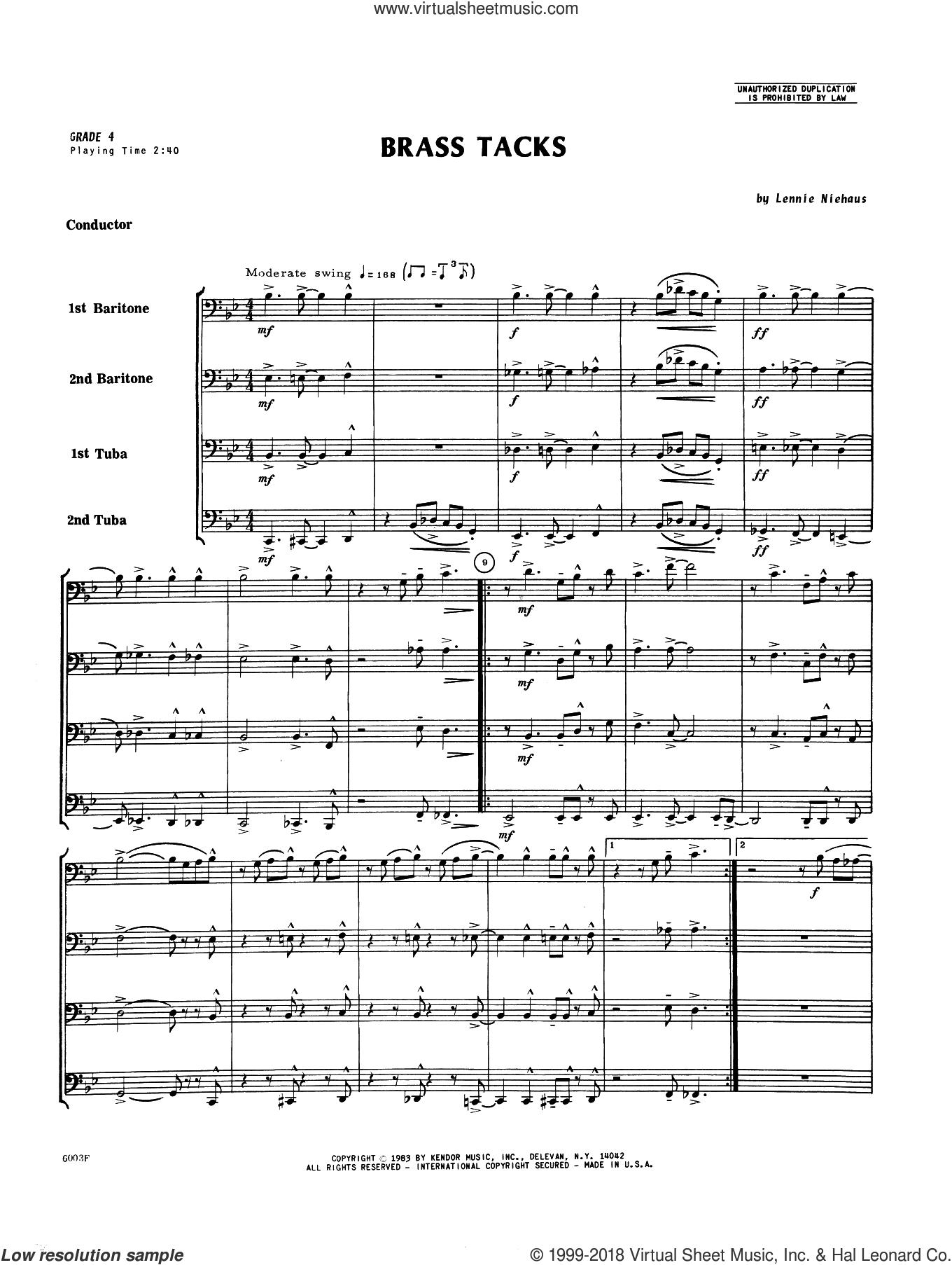 Brass Tacks (COMPLETE) sheet music for brass quartet by Lennie Niehaus, intermediate skill level