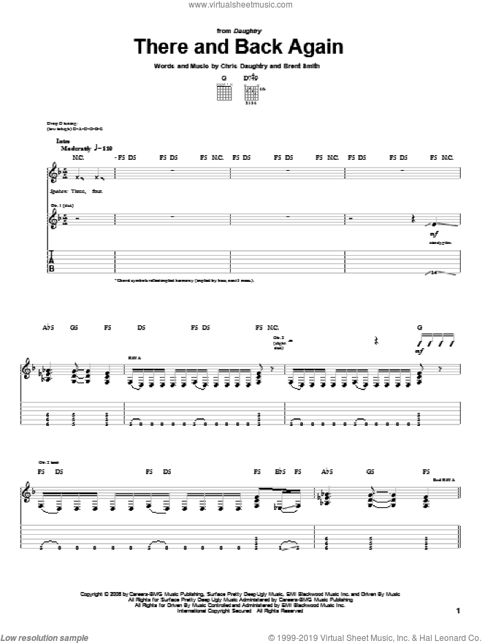 There And Back Again sheet music for guitar (tablature) by Daughtry, Brent Smith and Chris Daughtry, intermediate. Score Image Preview.