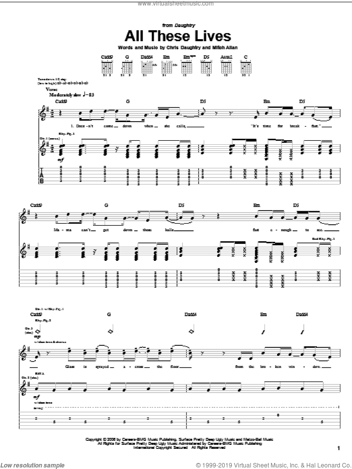 All These Lives sheet music for guitar (tablature) by Mitch Allan, Daughtry and Chris Daughtry. Score Image Preview.