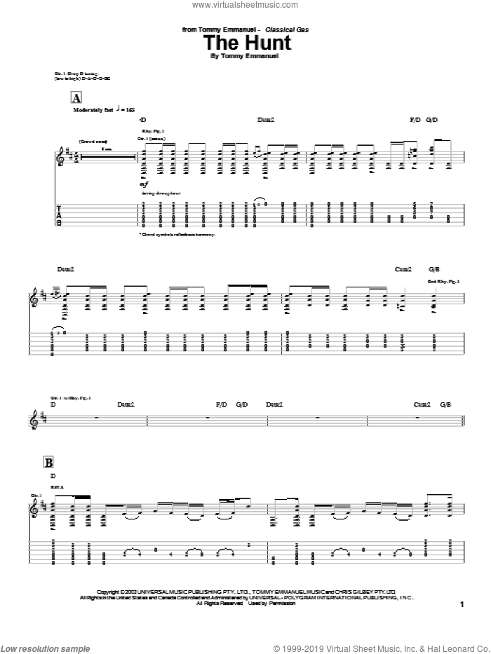 The Hunt sheet music for guitar (tablature) by Tommy Emmanuel, intermediate guitar (tablature). Score Image Preview.