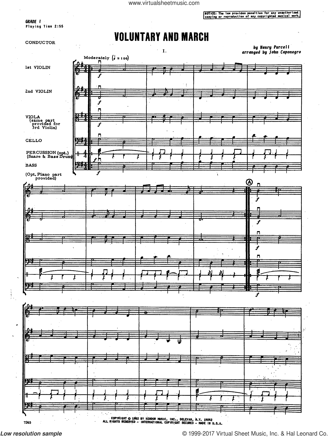 Voluntary and March (COMPLETE) sheet music for orchestra by Henry Purcell and John Caponegro, intermediate skill level