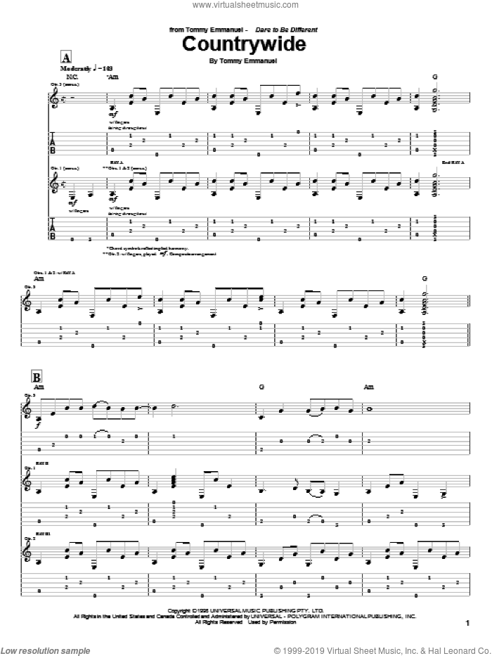 Countrywide sheet music for guitar (tablature) by Tommy Emmanuel. Score Image Preview.