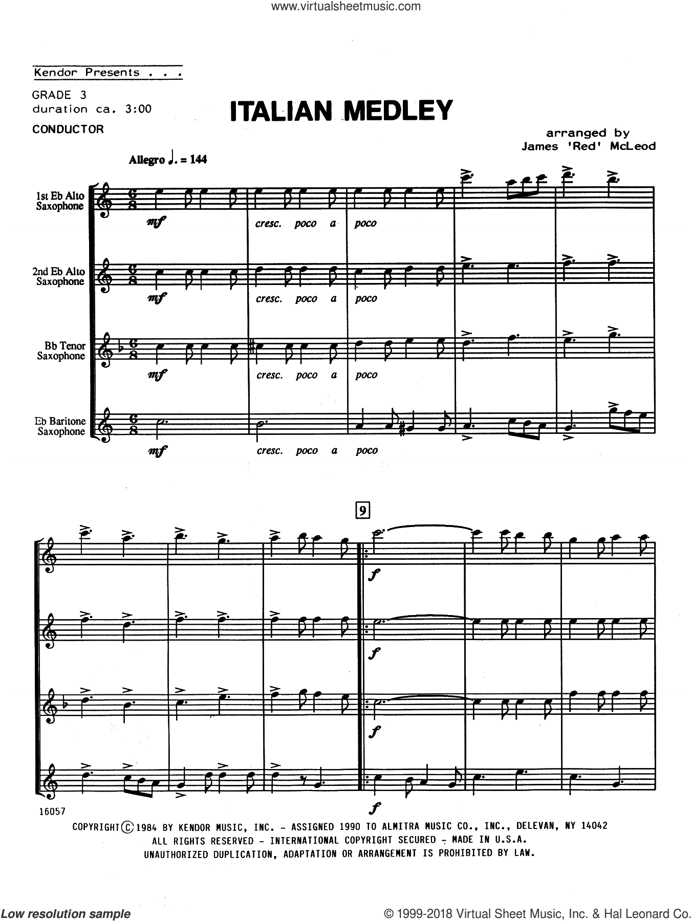 Italian Medley (COMPLETE) sheet music for saxophone quartet by James 'Red' McLeod, intermediate