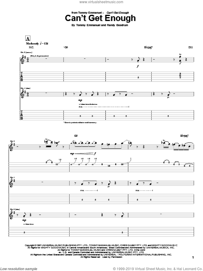 Can't Get Enough sheet music for guitar (tablature) by Randy Goodrum