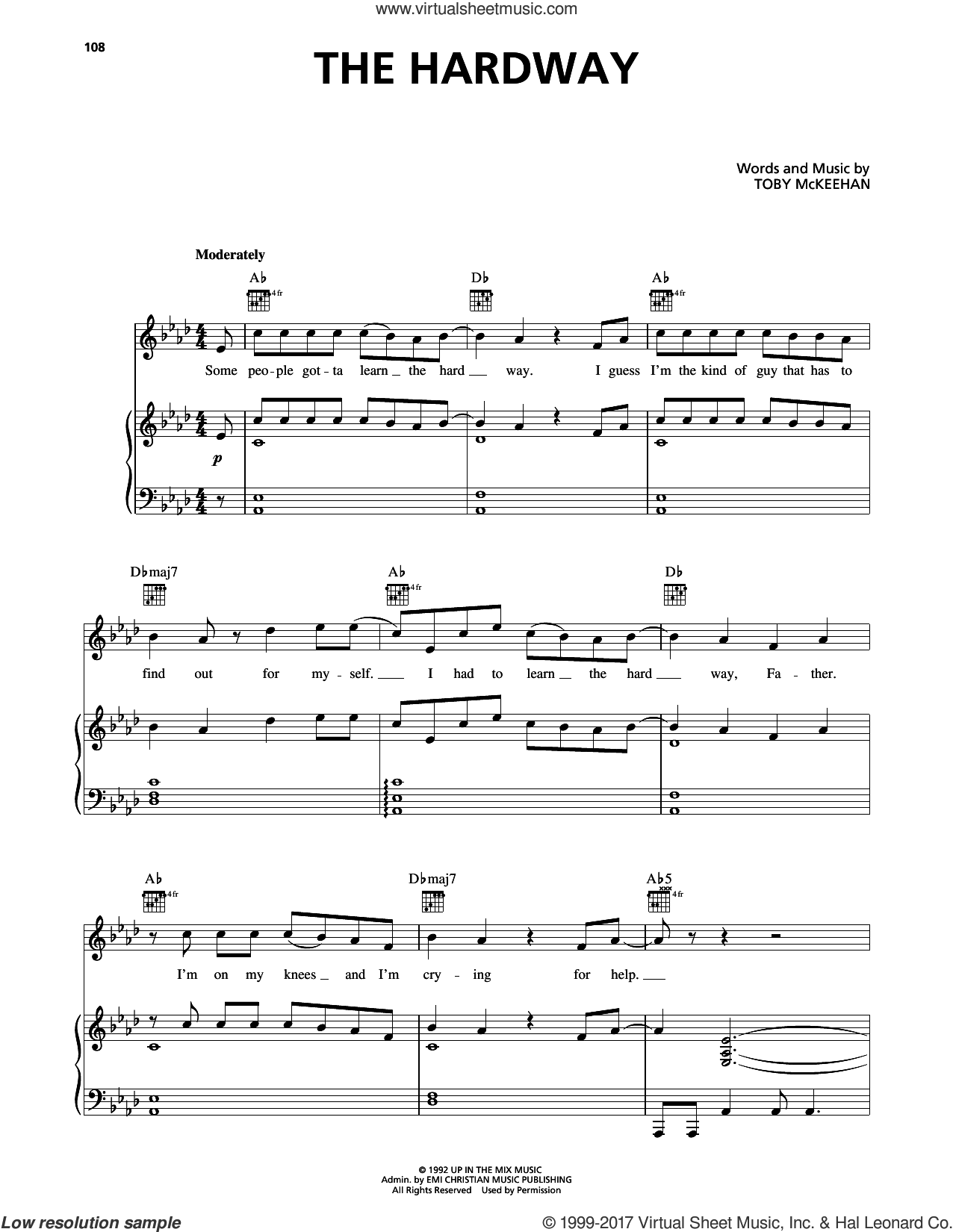The Hardway sheet music for voice, piano or guitar by dc Talk and Toby McKeehan, intermediate