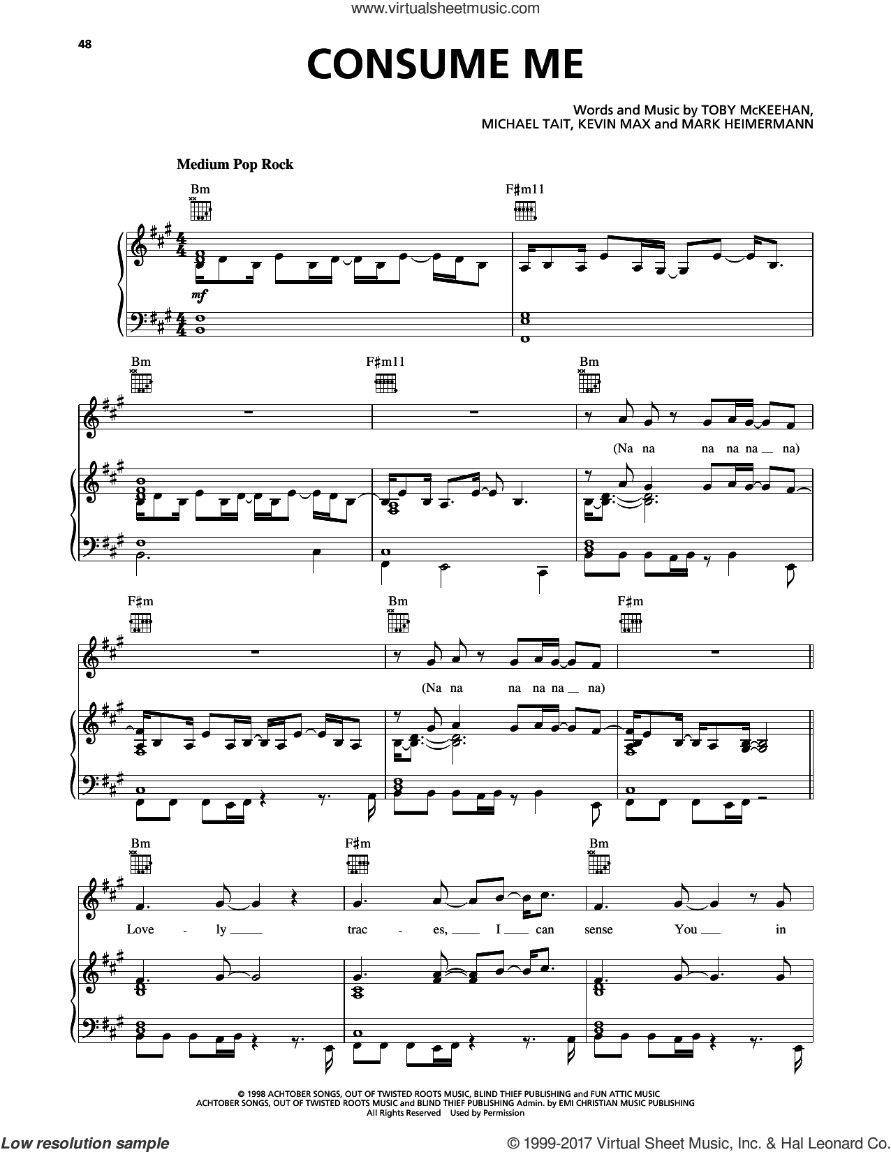 Consume Me sheet music for voice, piano or guitar by dc Talk, Kevin Max, Michael Tait and Toby McKeehan, intermediate. Score Image Preview.