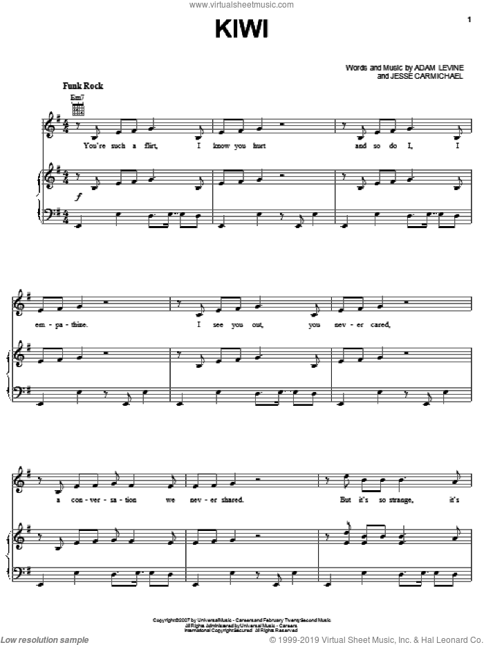 Kiwi sheet music for voice, piano or guitar by Maroon 5, Adam Levine and Jesse Carmichael, intermediate skill level