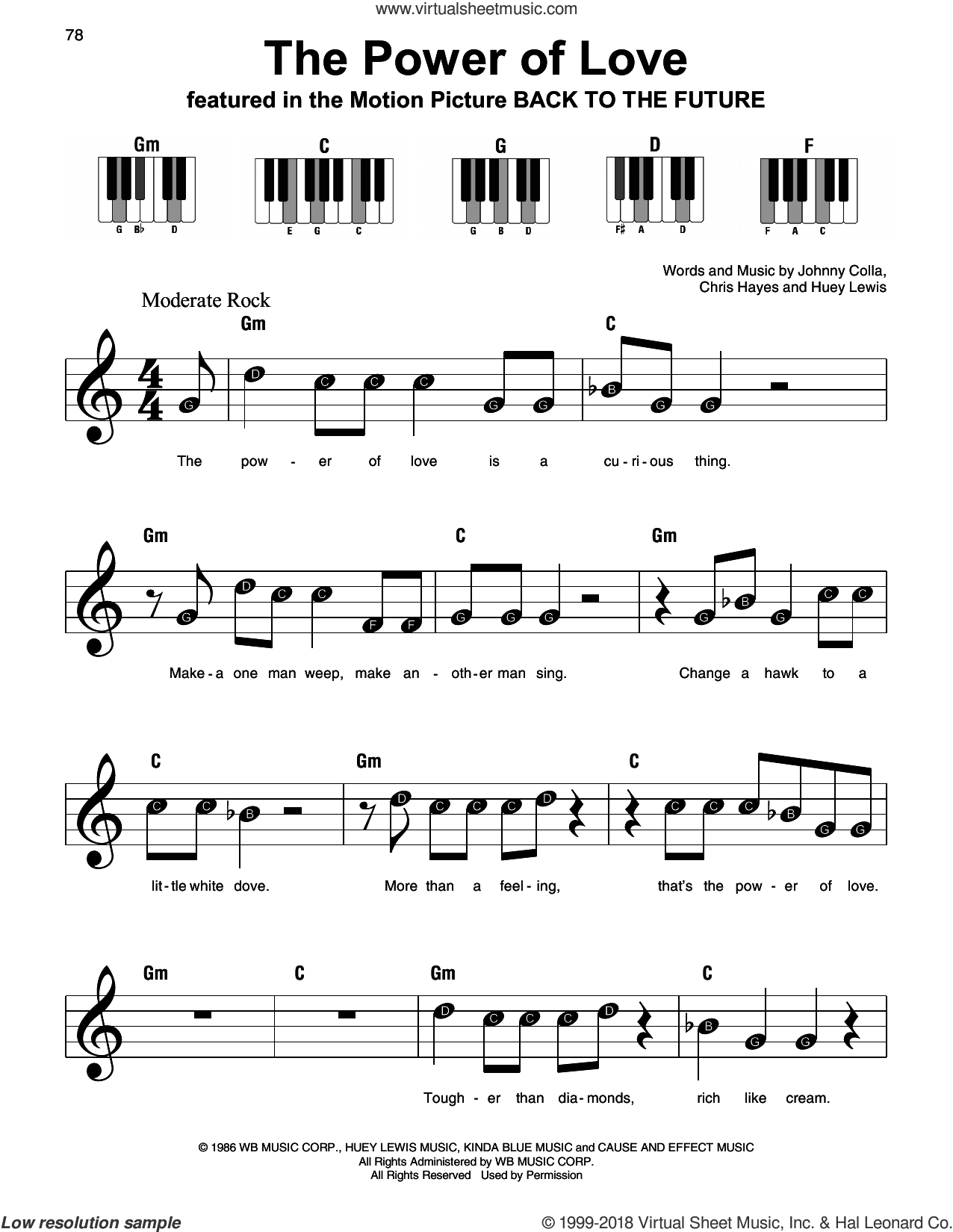 The Power Of Love sheet music for piano solo by Huey Lewis & The News, Chris Hayes, Huey Lewis and Johnny Colla, beginner skill level