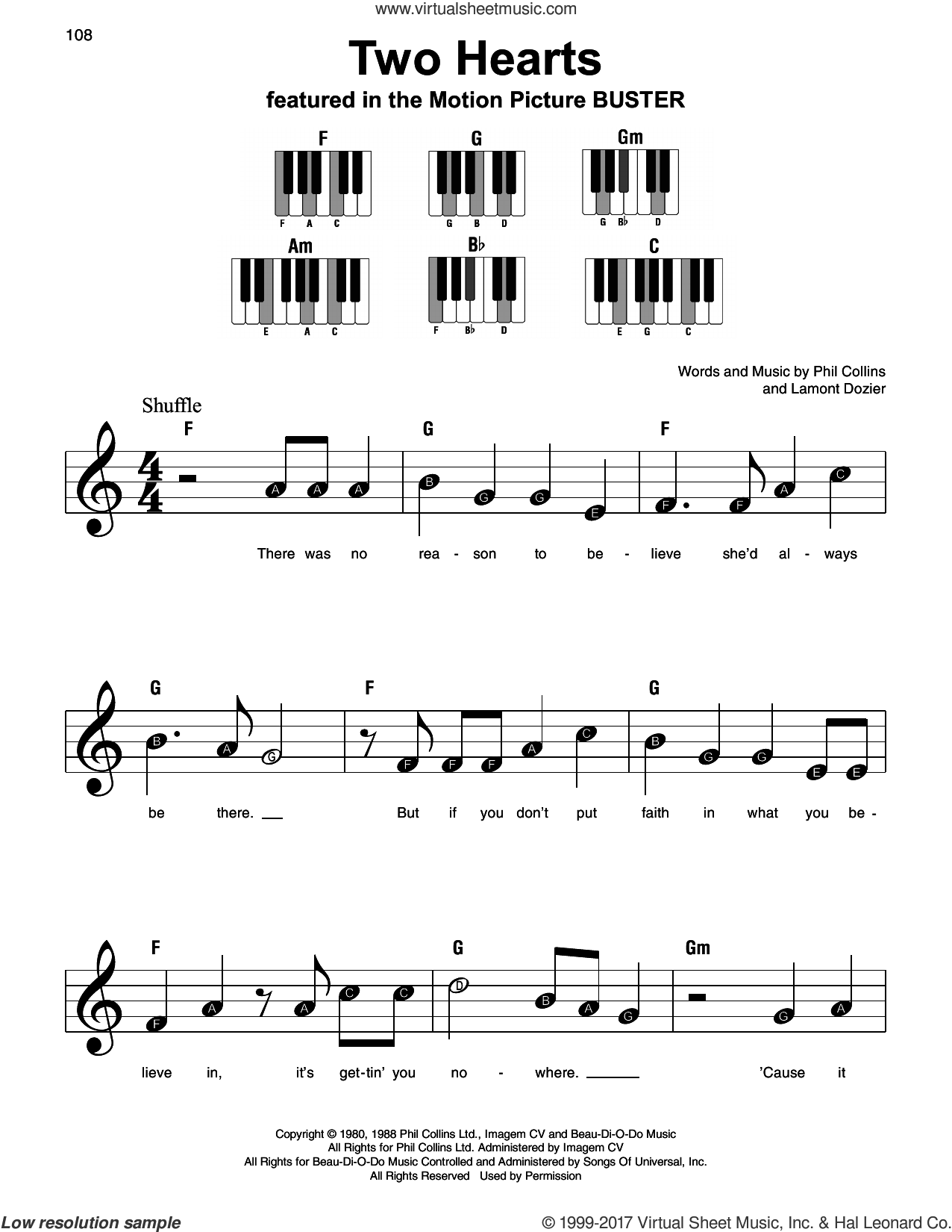 Two Hearts sheet music for piano solo by Phil Collins and Lamont Dozier, beginner. Score Image Preview.