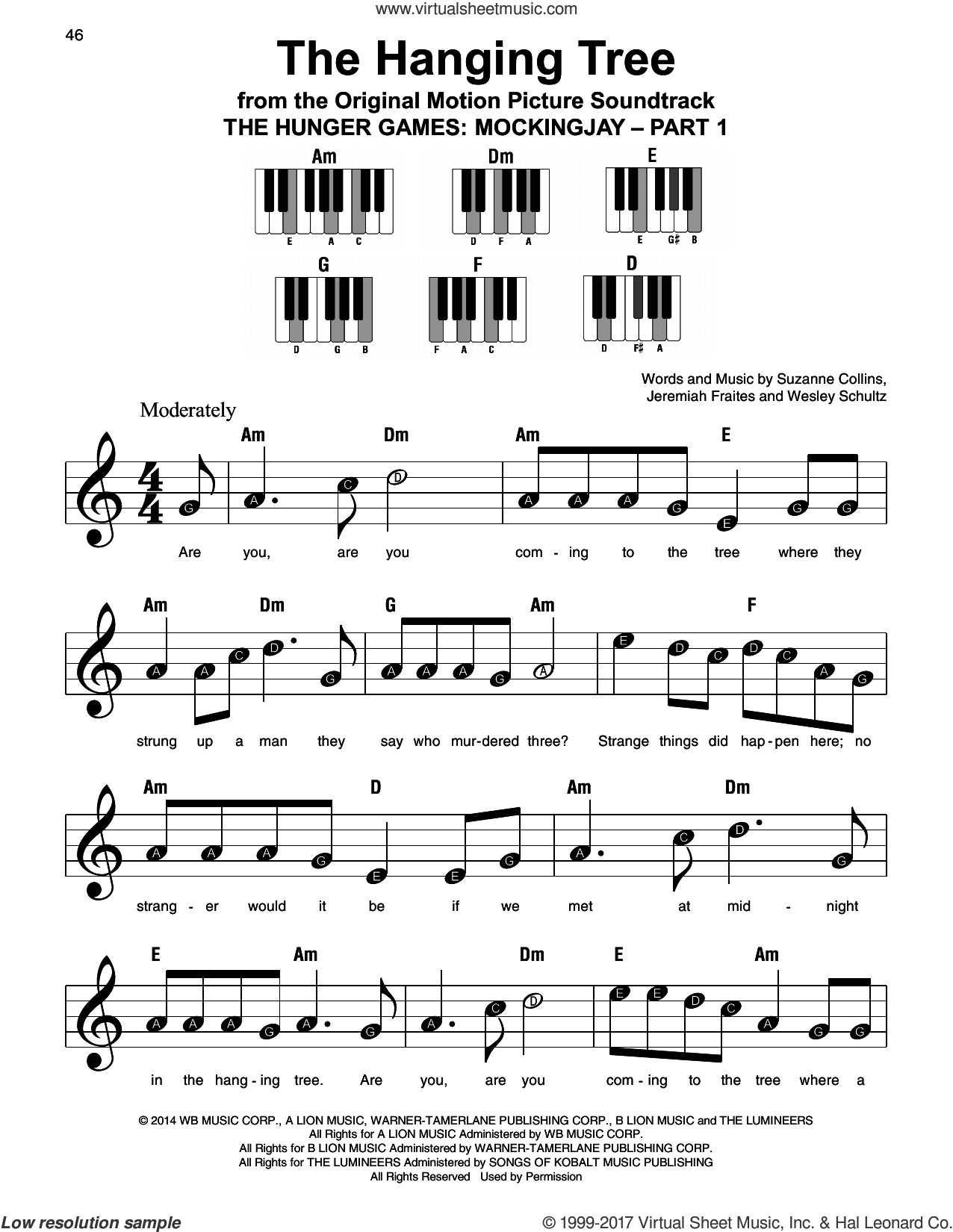 The Hanging Tree sheet music for piano solo by James Newton Howard, Jeremiah Fraites, Suzanne Collins and Wesley Schultz, beginner. Score Image Preview.