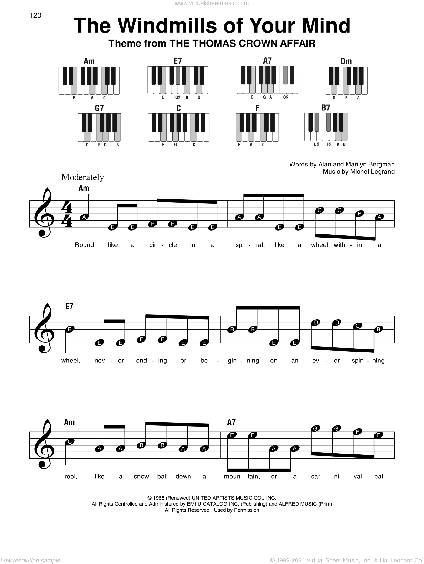 The Windmills Of Your Mind sheet music for piano solo by Michel LeGrand, Alan Bergman and Marilyn Bergman, beginner. Score Image Preview.