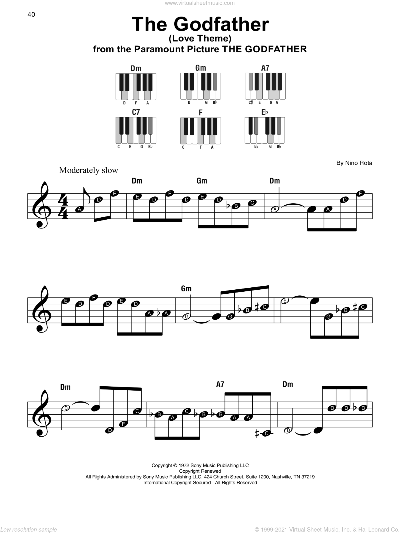 The Godfather (Love Theme) sheet music for piano solo by Nino Rota, beginner. Score Image Preview.