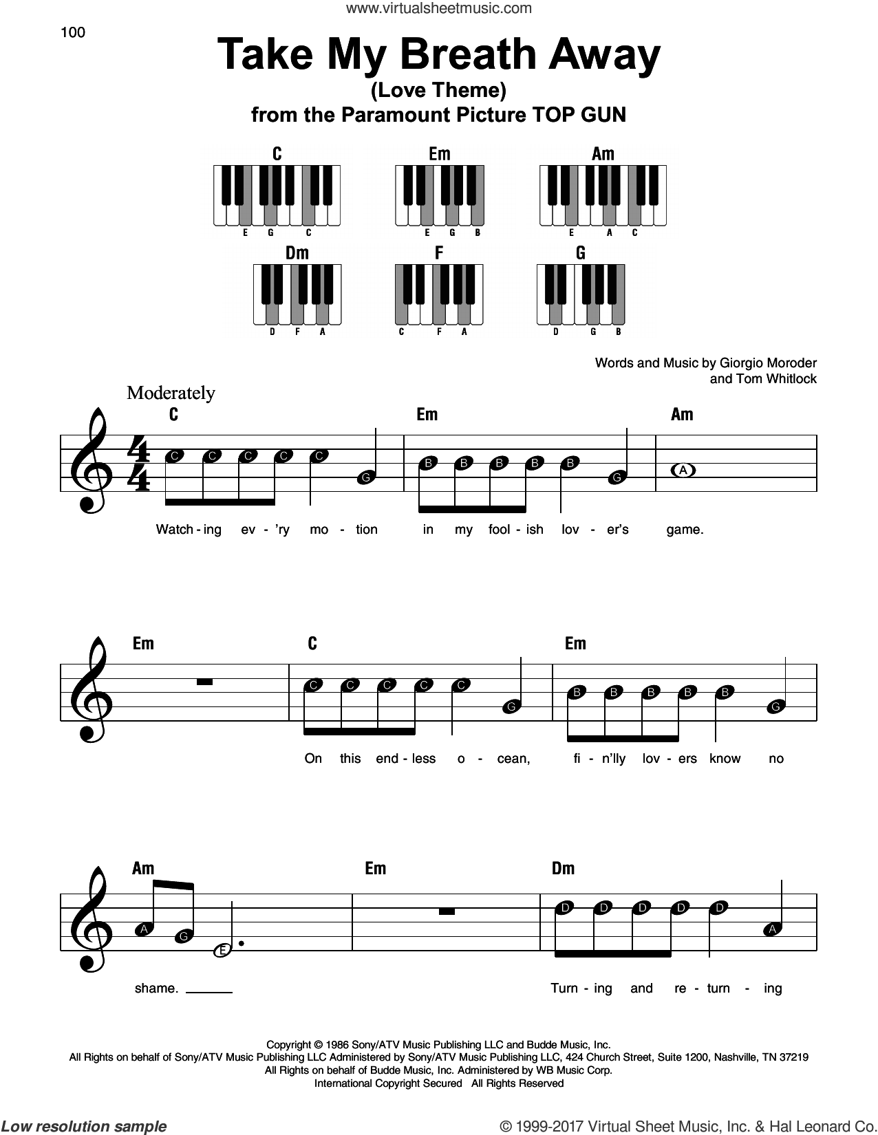 Take My Breath Away (Love Theme) sheet music for piano solo by Giorgio Moroder, Irving Berlin and Tom Whitlock, beginner skill level