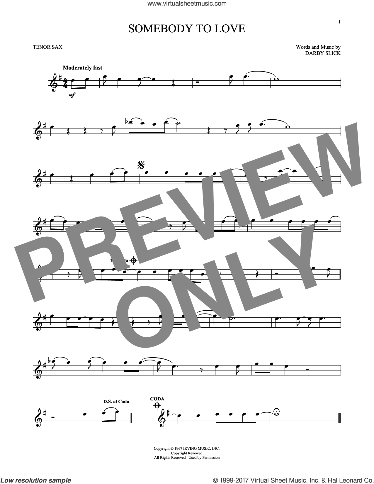 Somebody To Love sheet music for tenor saxophone solo by Jefferson Airplane and Darby Slick, intermediate skill level