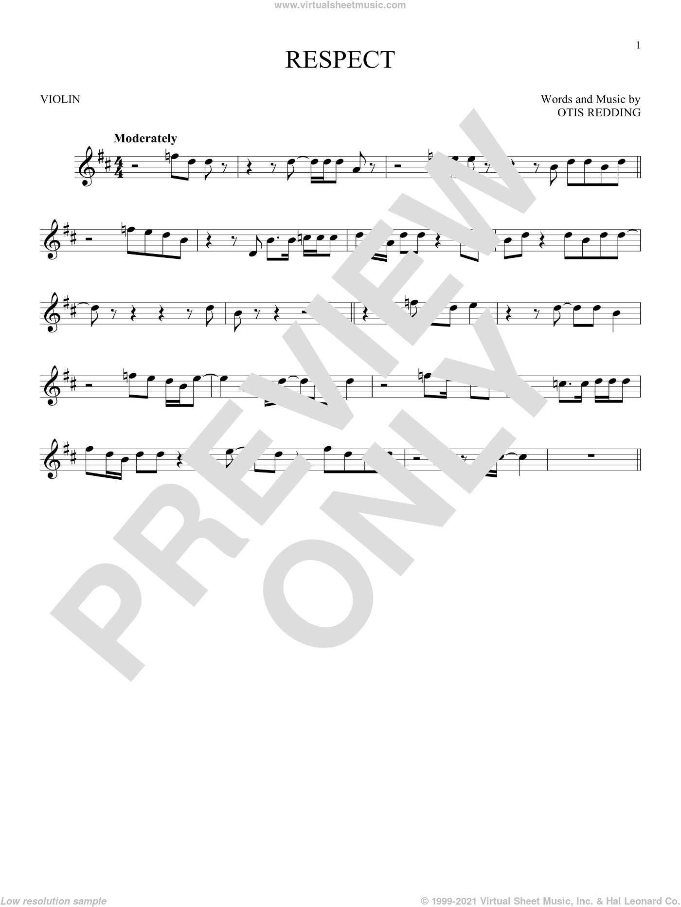 Respect sheet music for violin solo by Aretha Franklin and Otis Redding, intermediate. Score Image Preview.