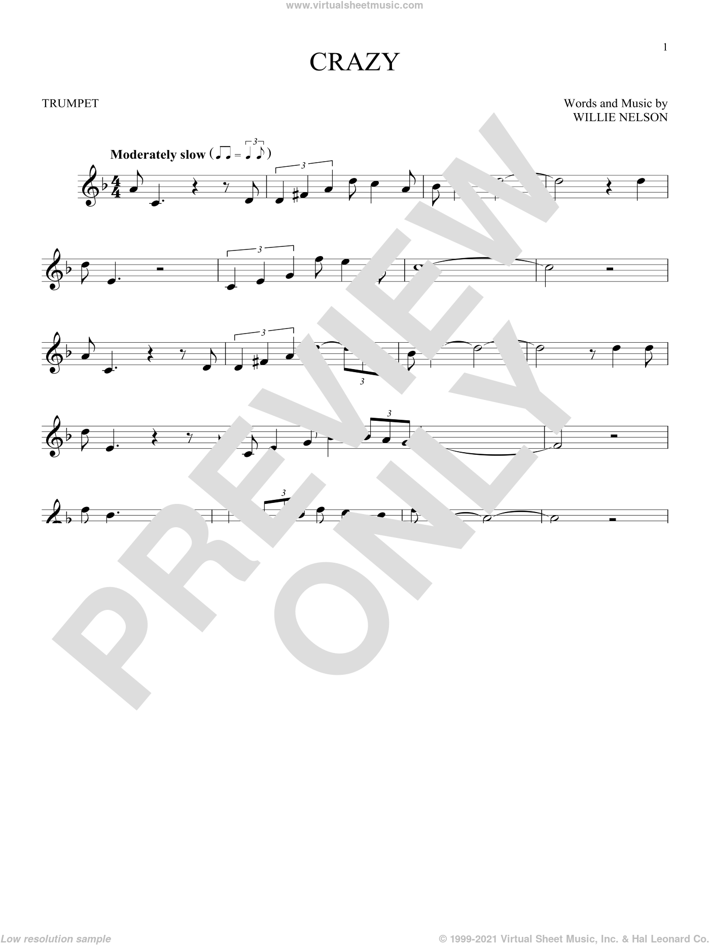 Crazy sheet music for trumpet solo by Willie Nelson and Patsy Cline, intermediate skill level
